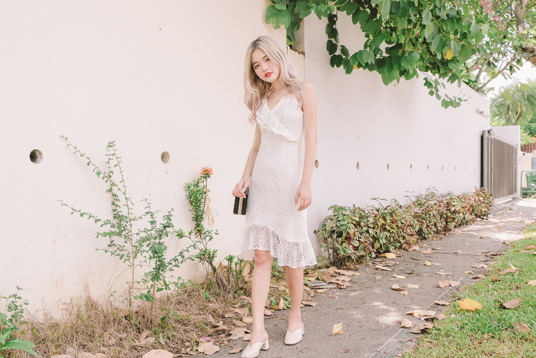 Medara Lace Asymmetrical Dress in White