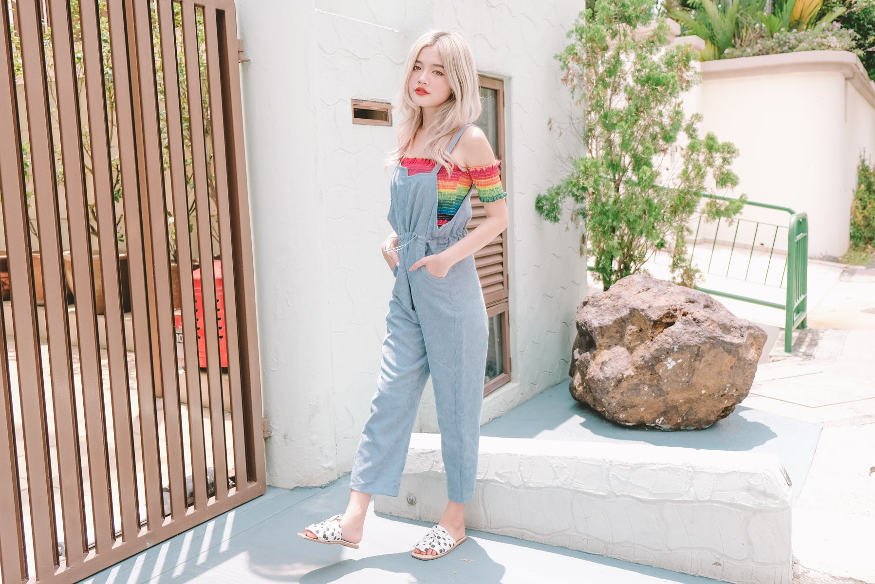 [Restocked] Vicna Drawstring Pinafore Jumpsuit in Blue
