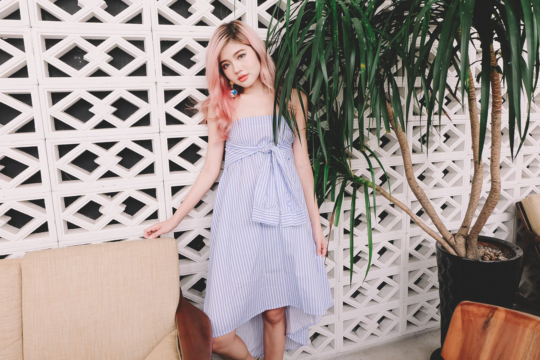 Tie Front Pinstripe Tube Dress