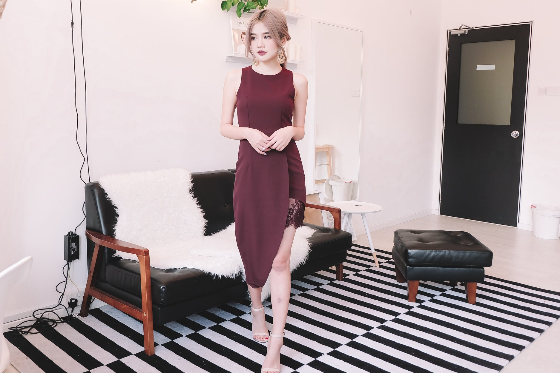 [Restocked] Lace Trimmed Asymmetrical Midi Dress in Wine