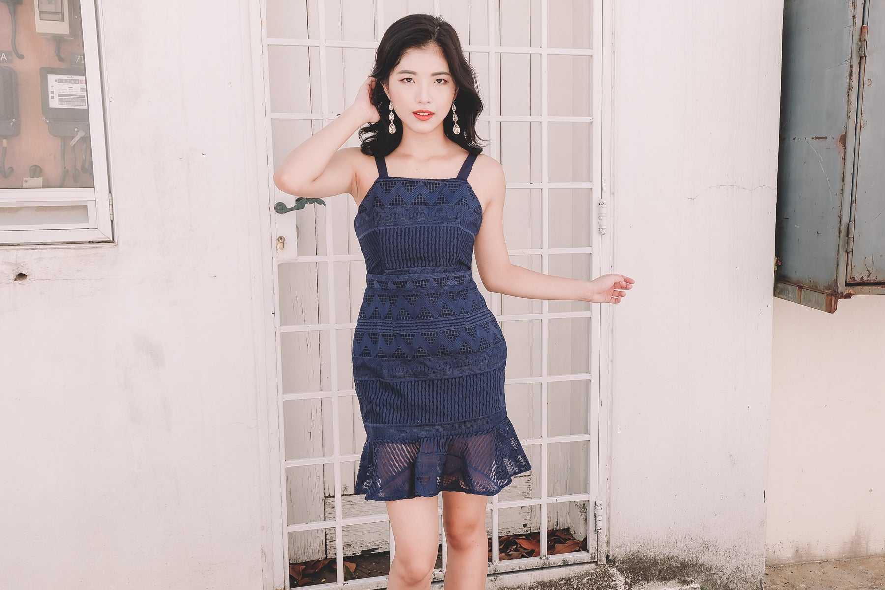 Chiara Lace Dress in Navy