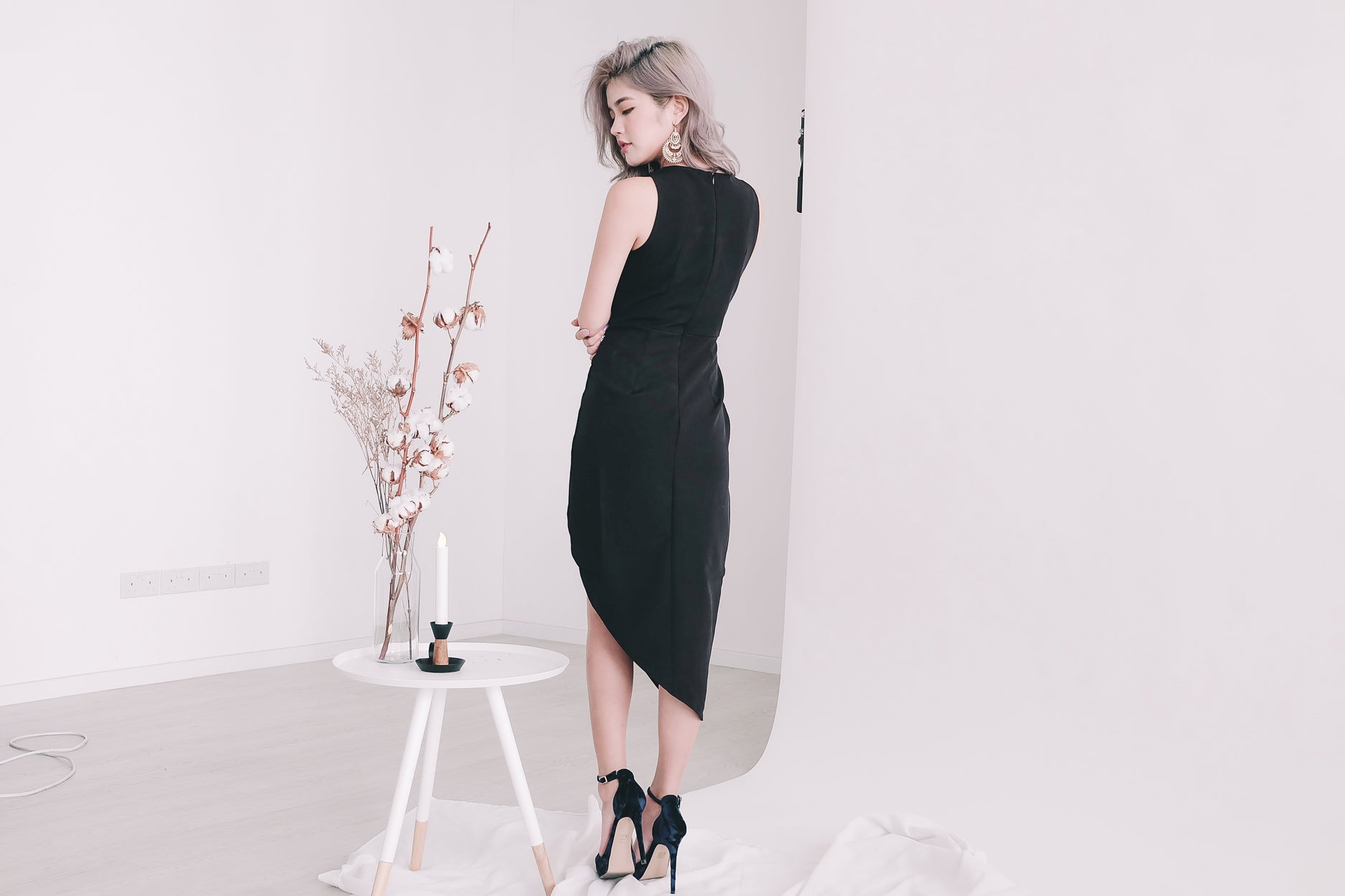 [Restocked] Lace Trimmed Asymmetrical Midi Dress in Black