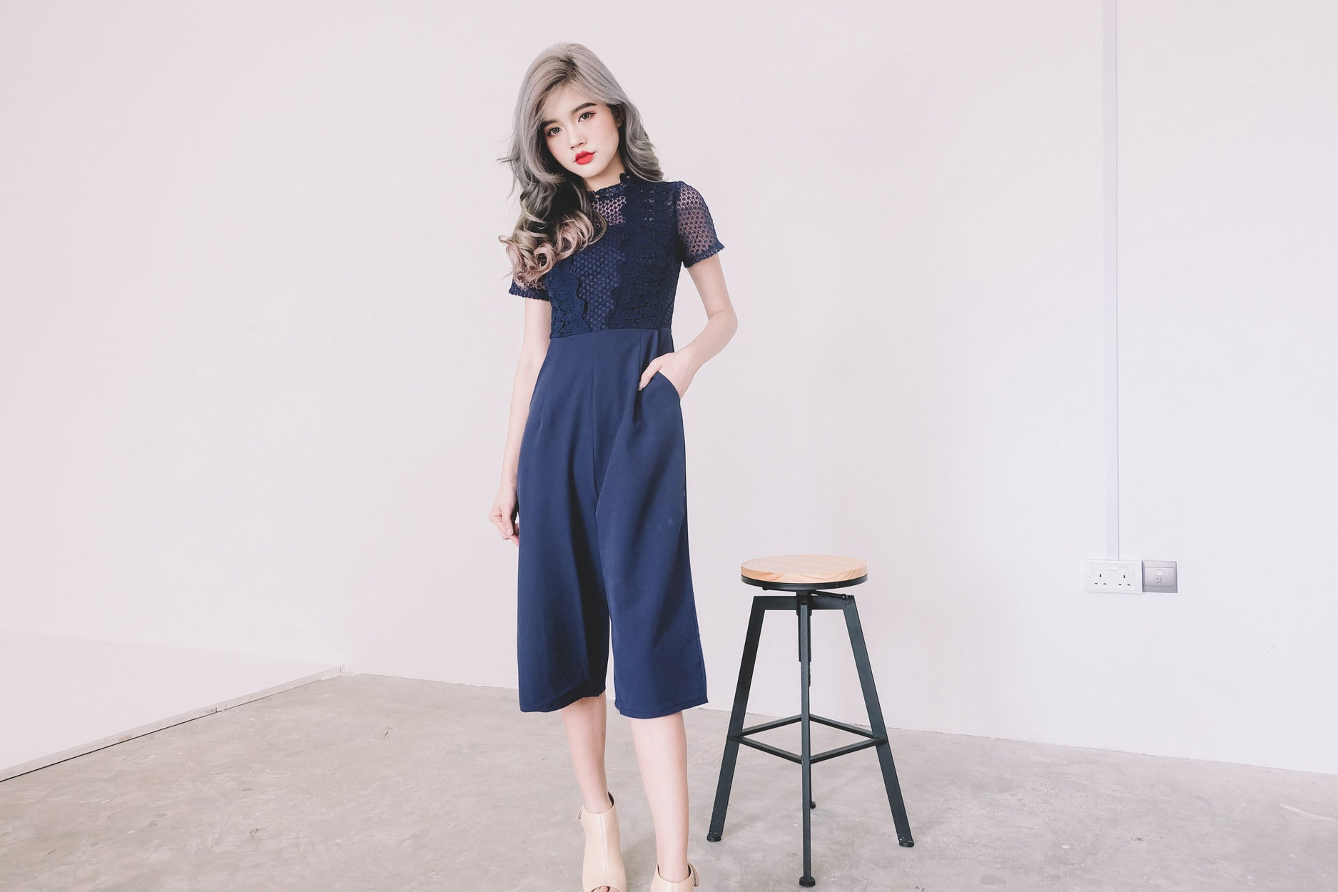 [Restocked] Lace Panel Jumpsuit in Navy