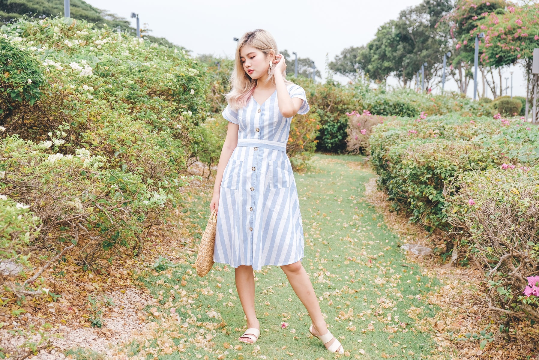Airene Striped Linen Midi Dress in Blue