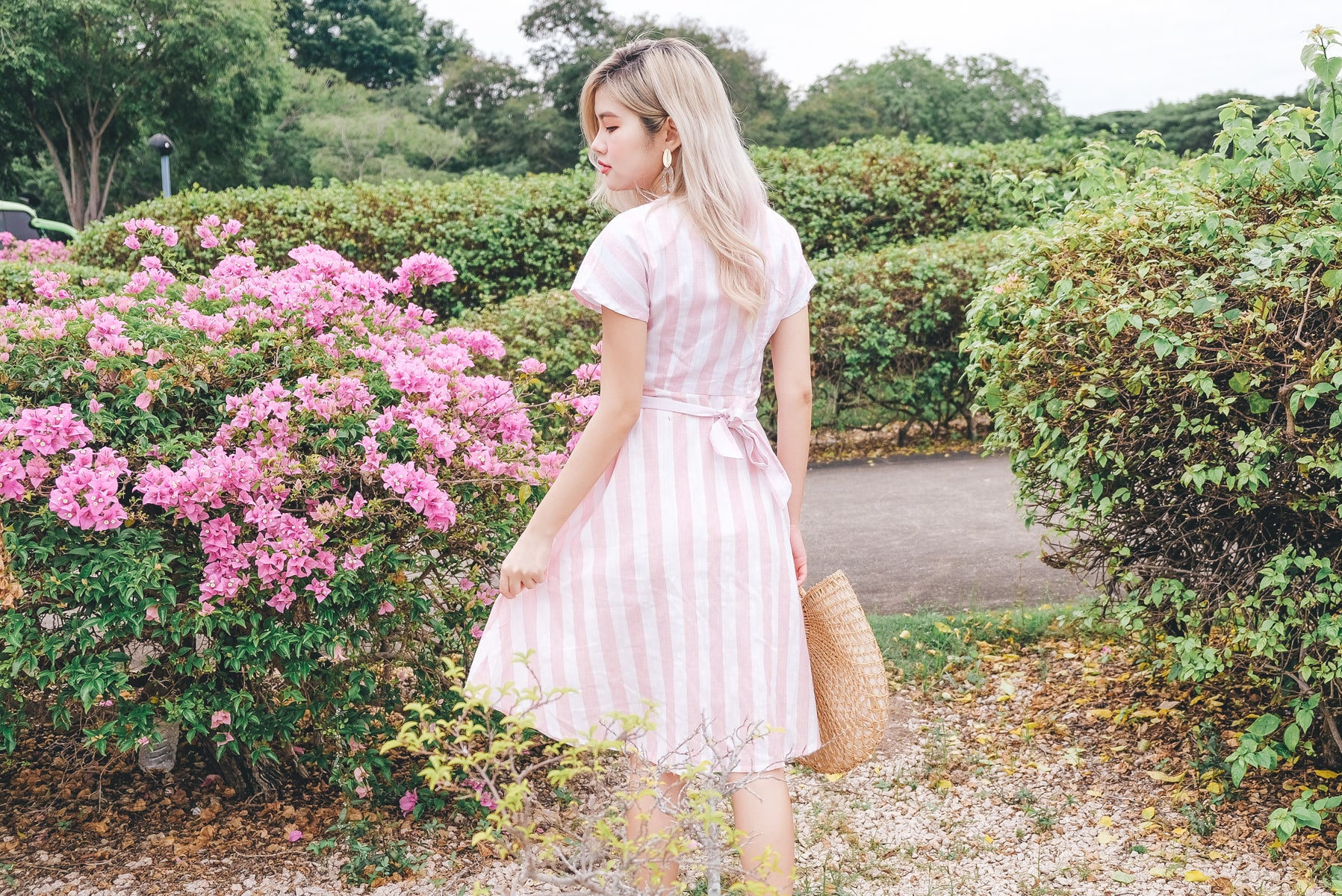 Airene Striped Linen Midi Dress in Pink