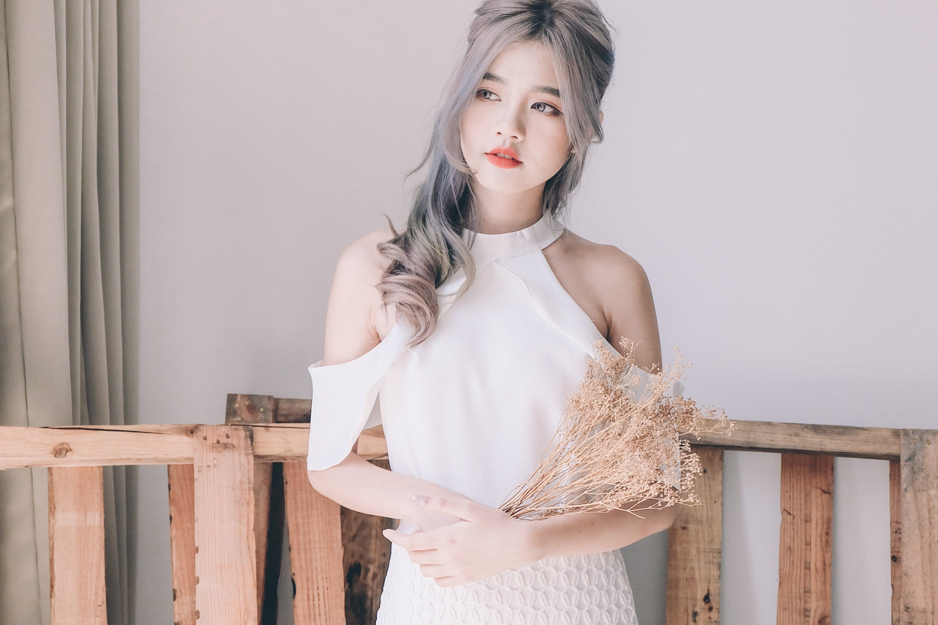 [Restocked] Cold Shoulder Halter Top in White