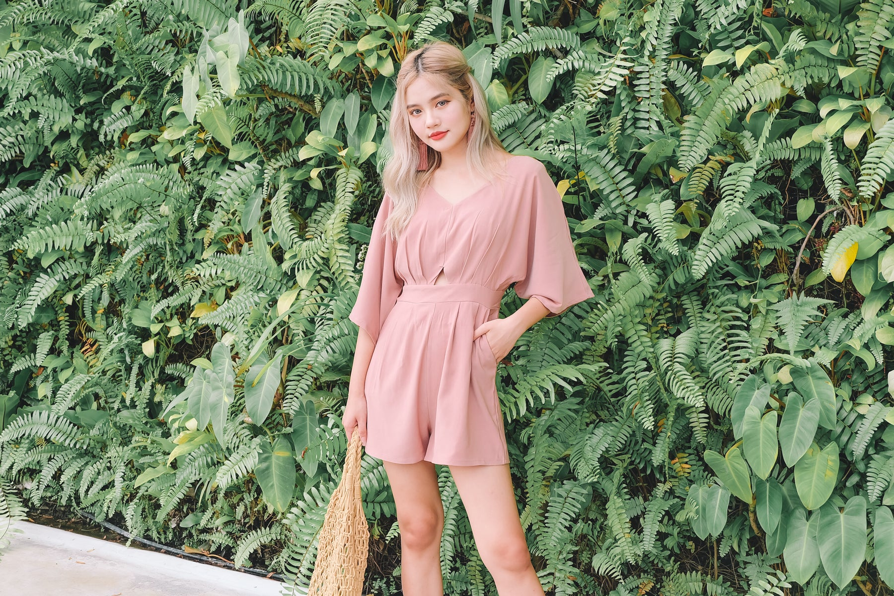 Batwing Cut-Out Romper in Pink