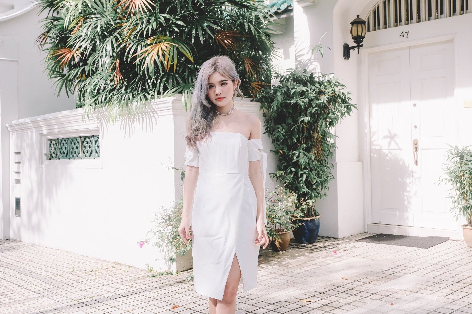 Off Shoulder Tie Sleeve Midi Dress in White