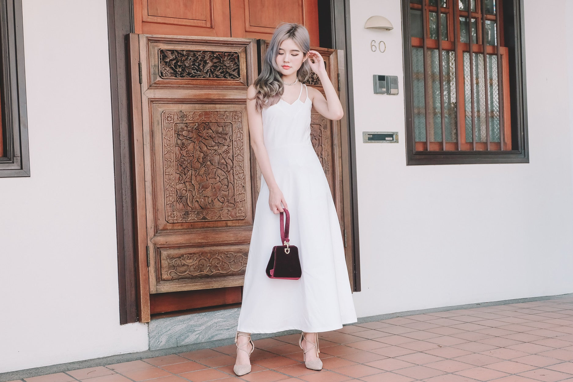 Double Strap Maxi Dress in White