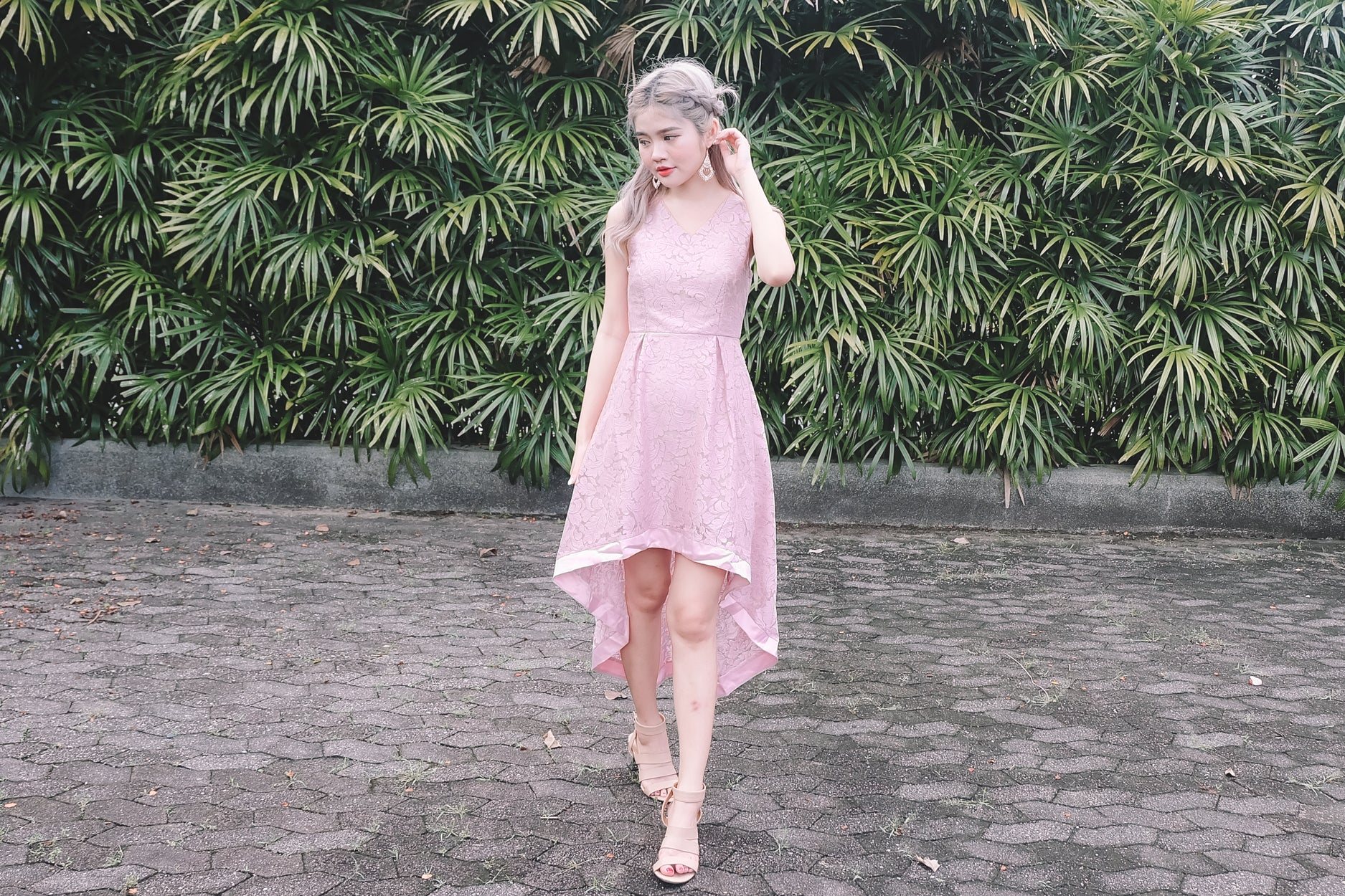Lace Hi-Lo Dress in Pink