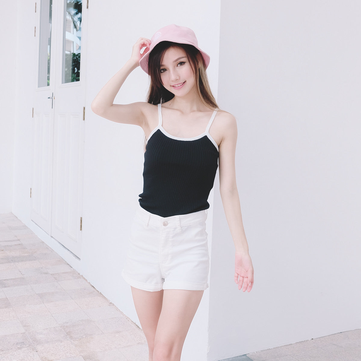 Contrast Knit Cami Top in Black
