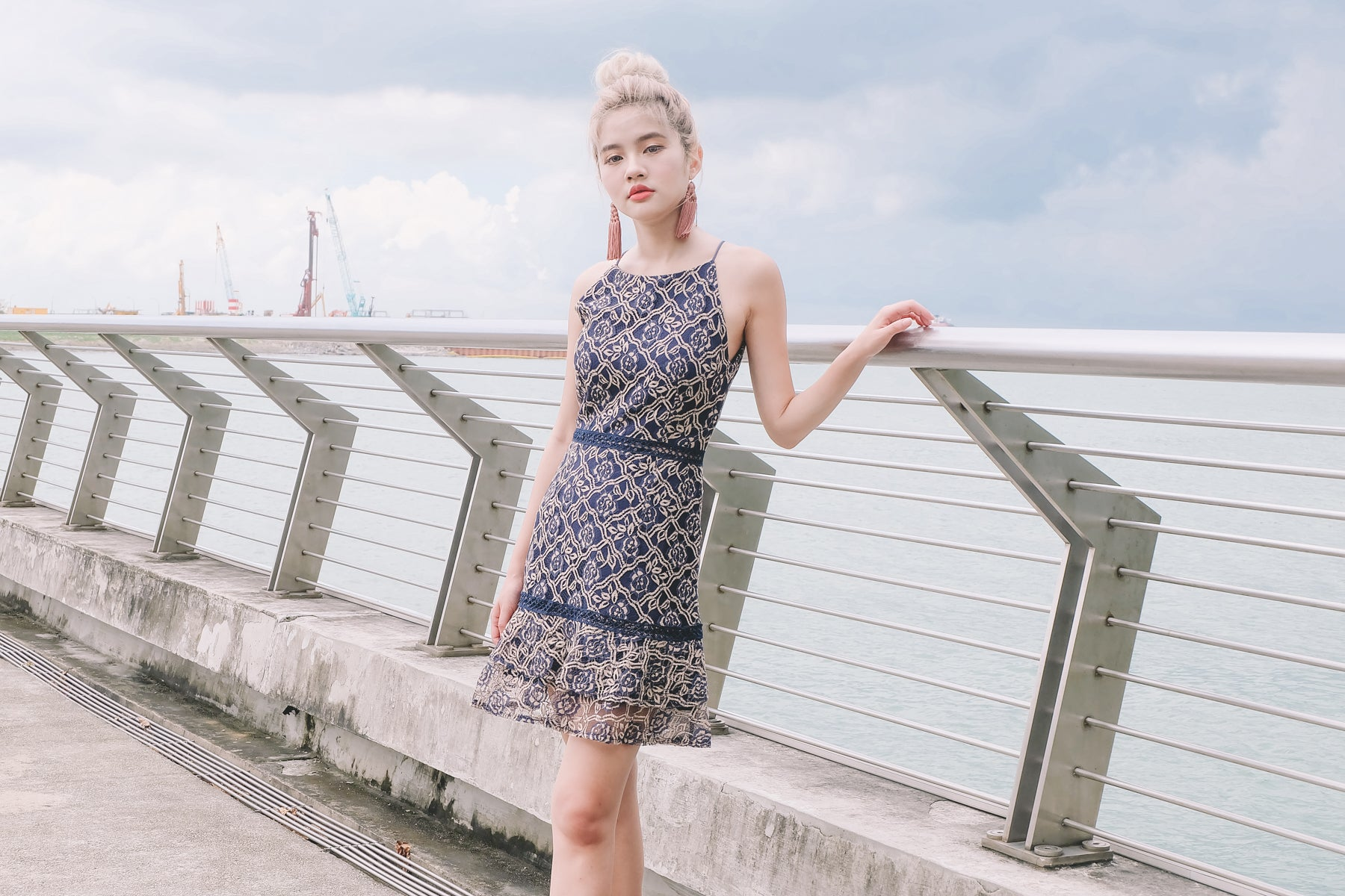 Shelly Lace Dress in Navy