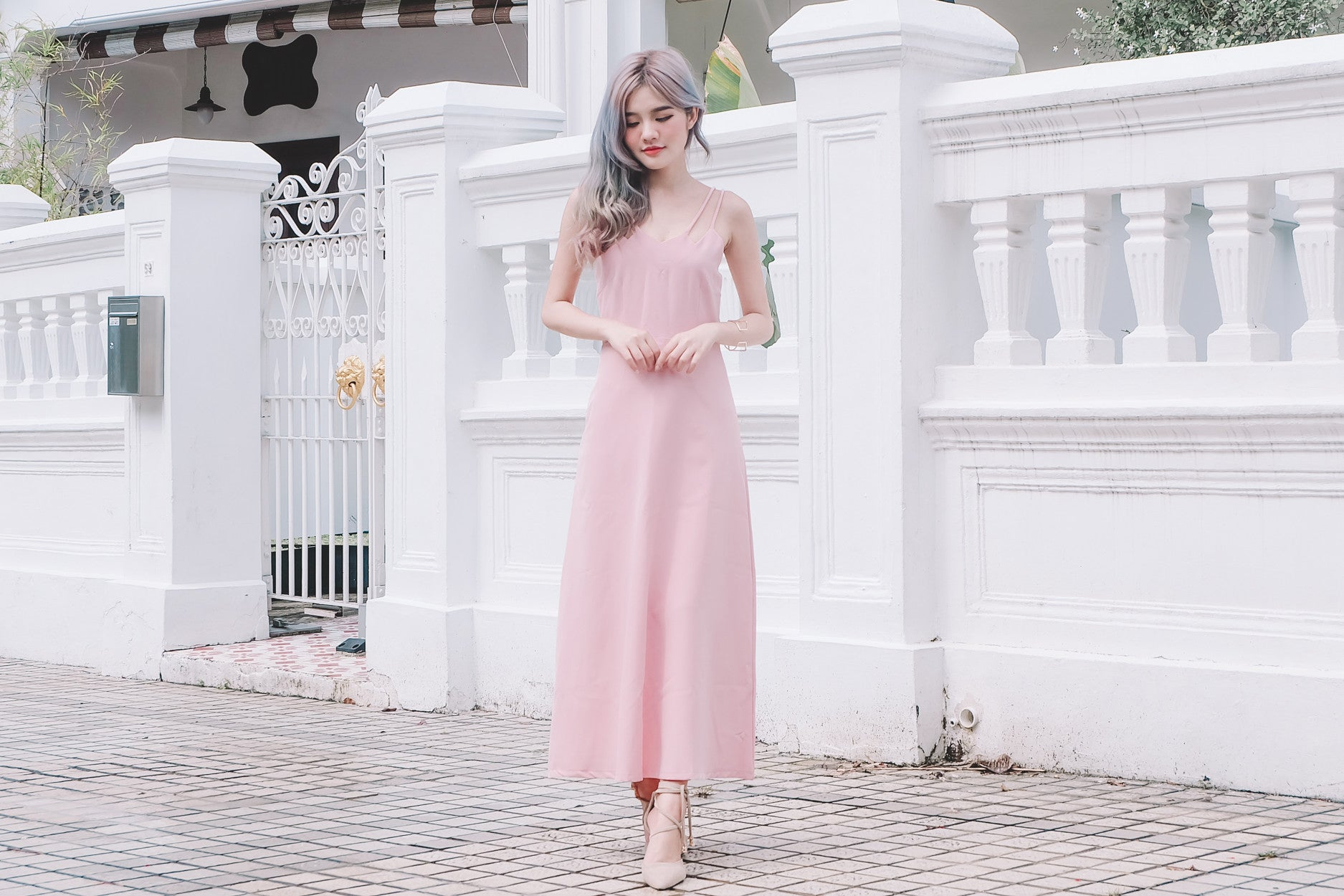 [Restocked] Double Strap Maxi Dress in Pink