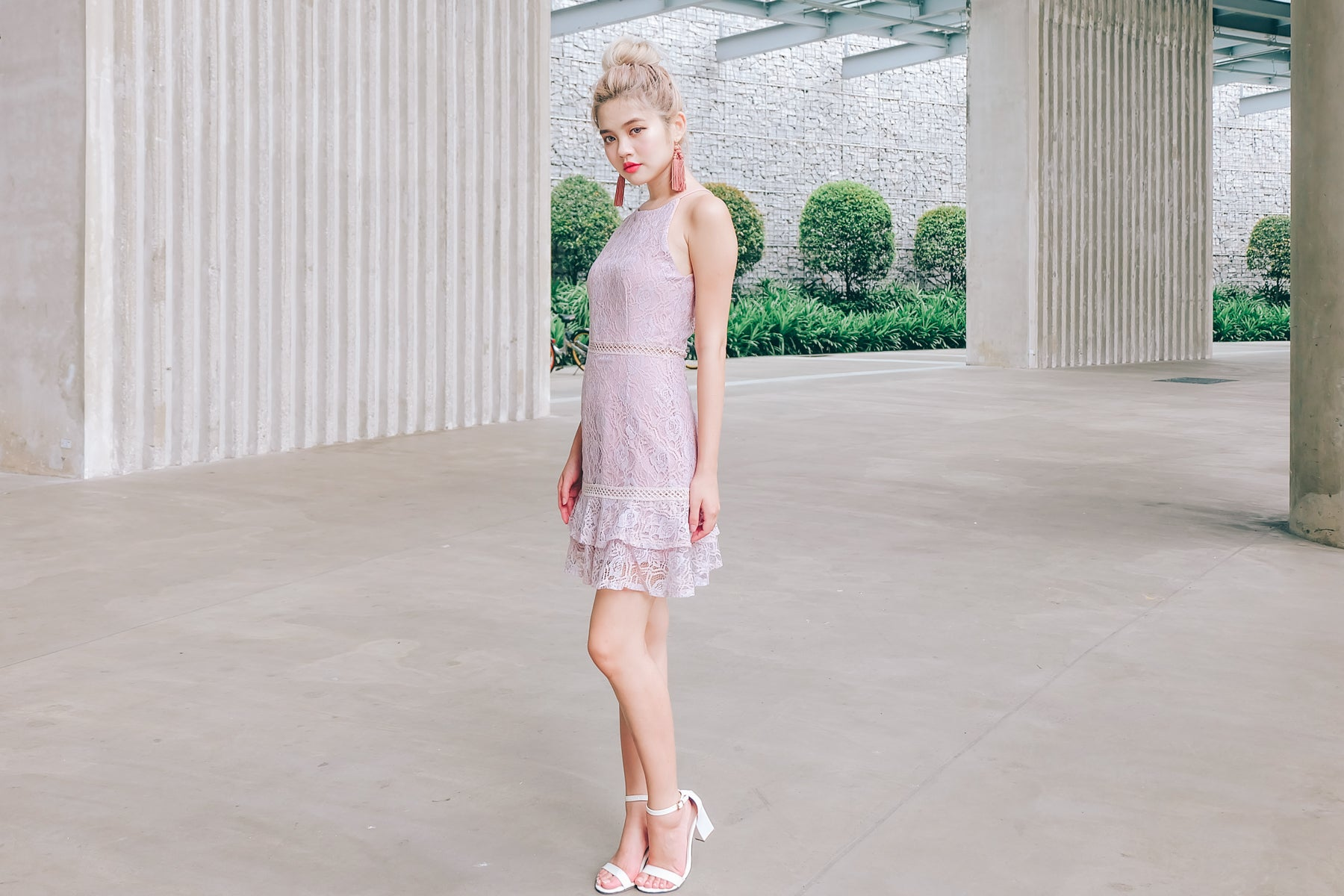 Shelly Lace Dress in Lilac