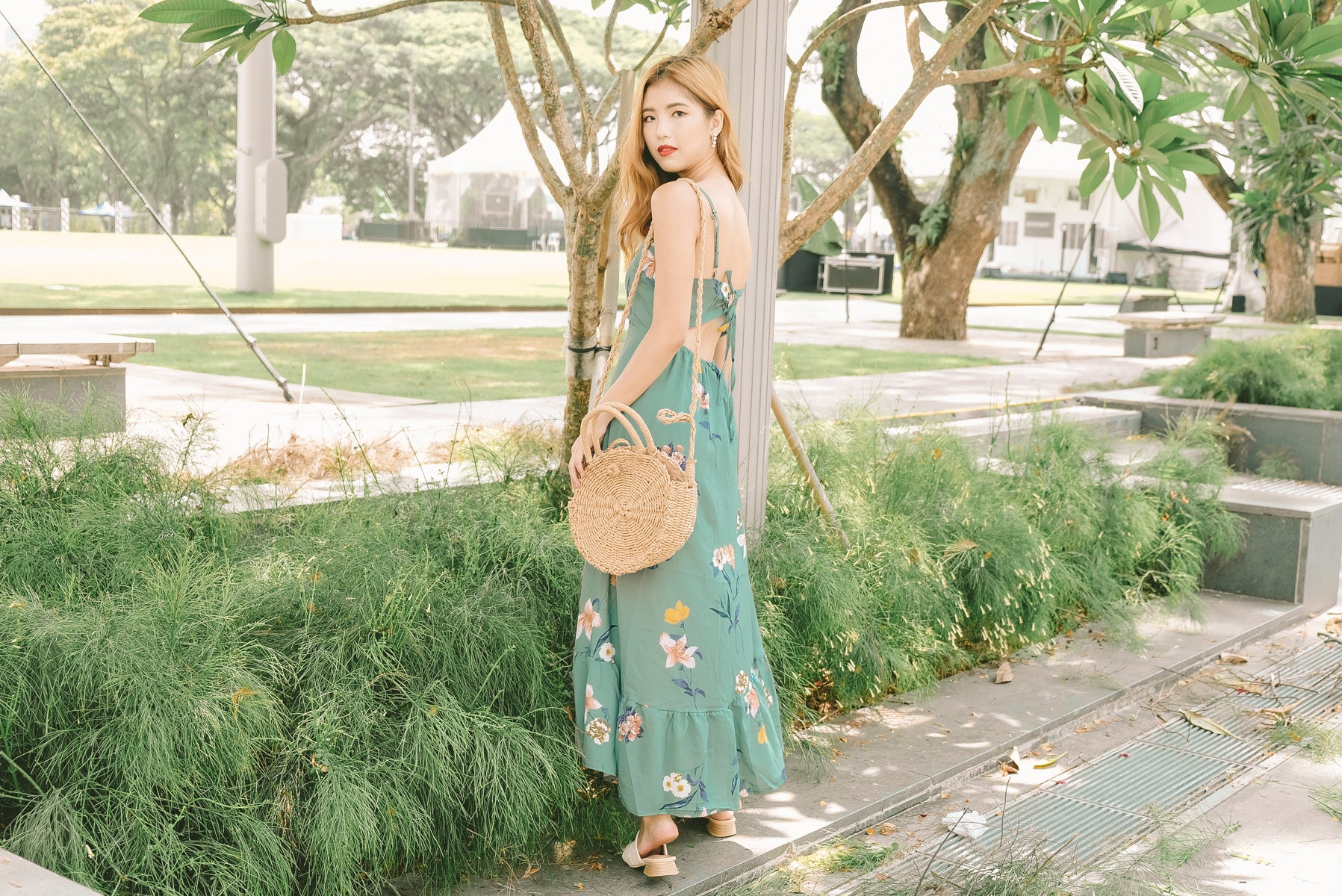 Thana Tie-Back Floral Maxi Dress in Green