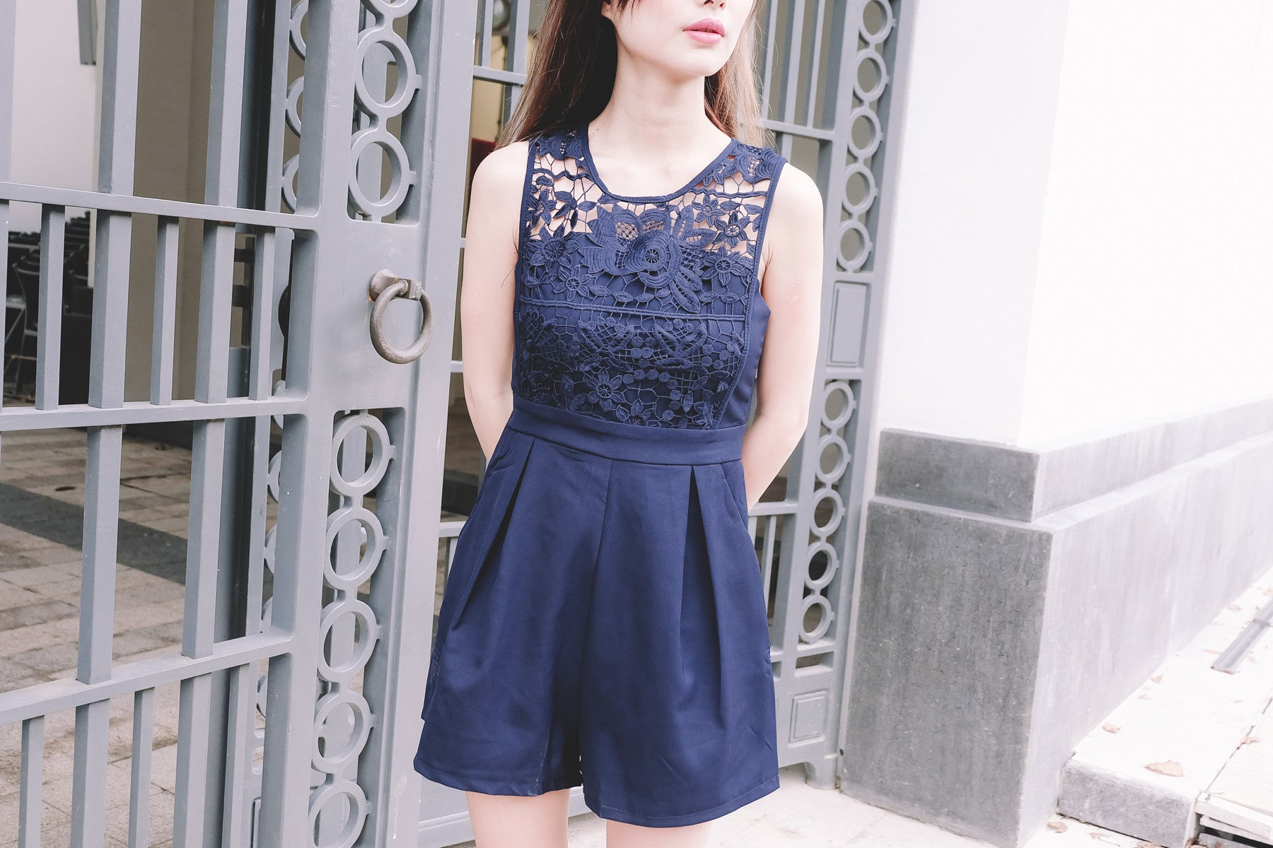 Lace-Paneled Romper in Navy