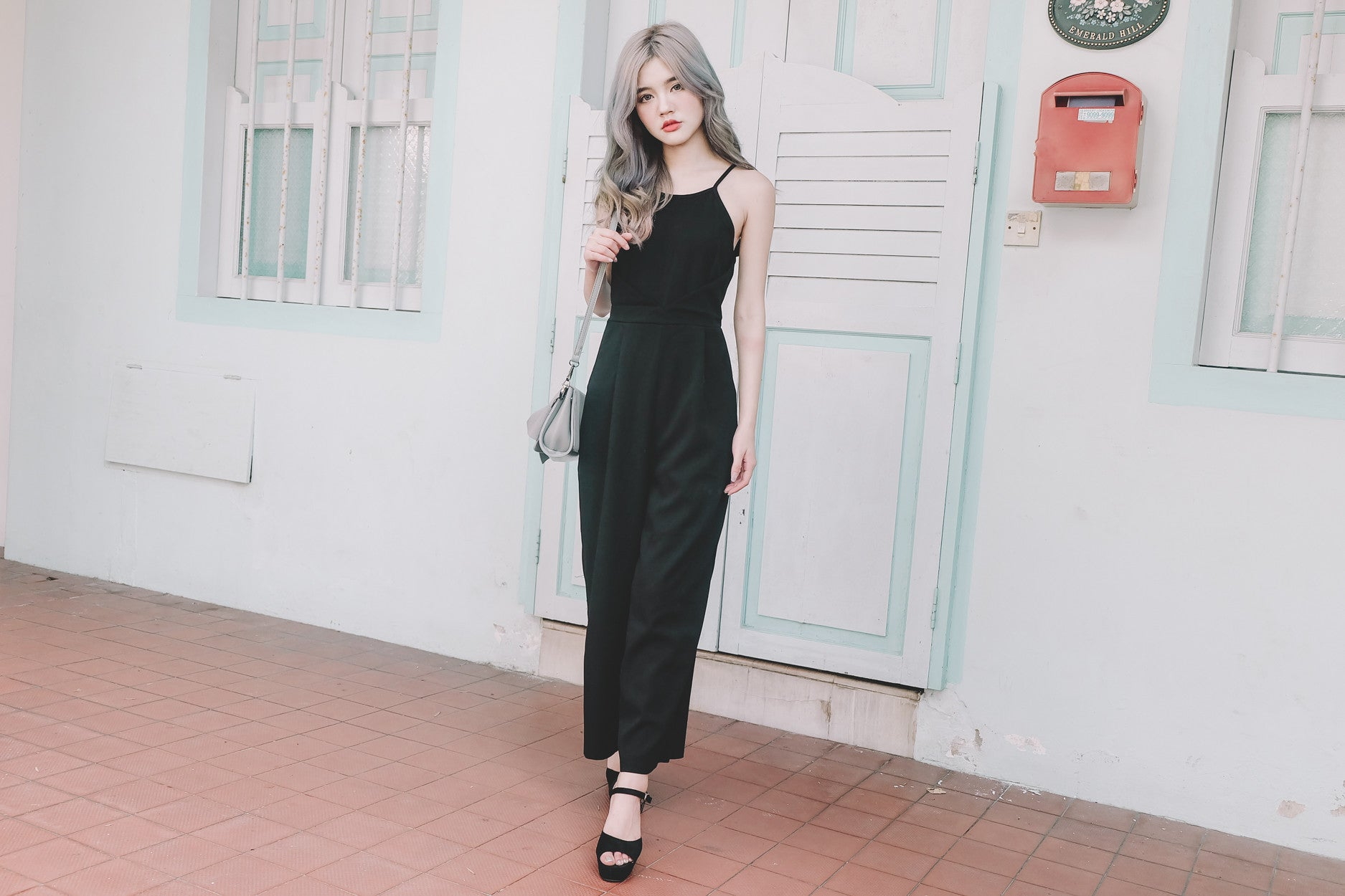 Cross Waist Jumpsuit in Black