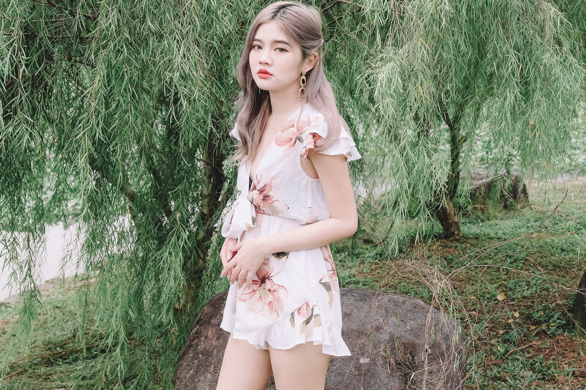 [Restocked] Floral Tie-Front Romper in White