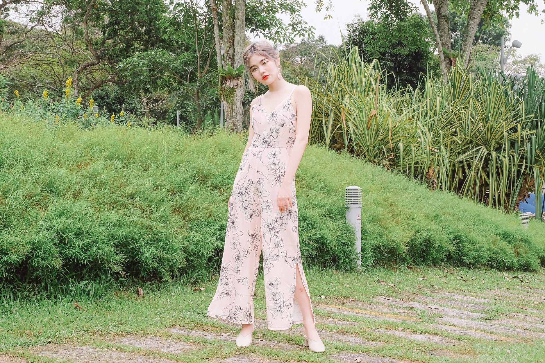 Floral Side Slit Jumpsuit in Pink