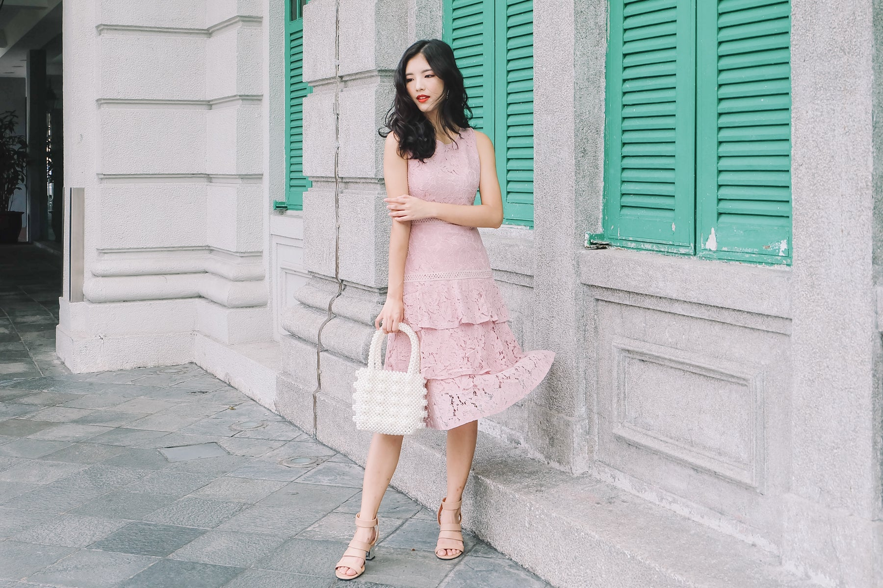 Ava Lace Tiered Midi Dress in Pink