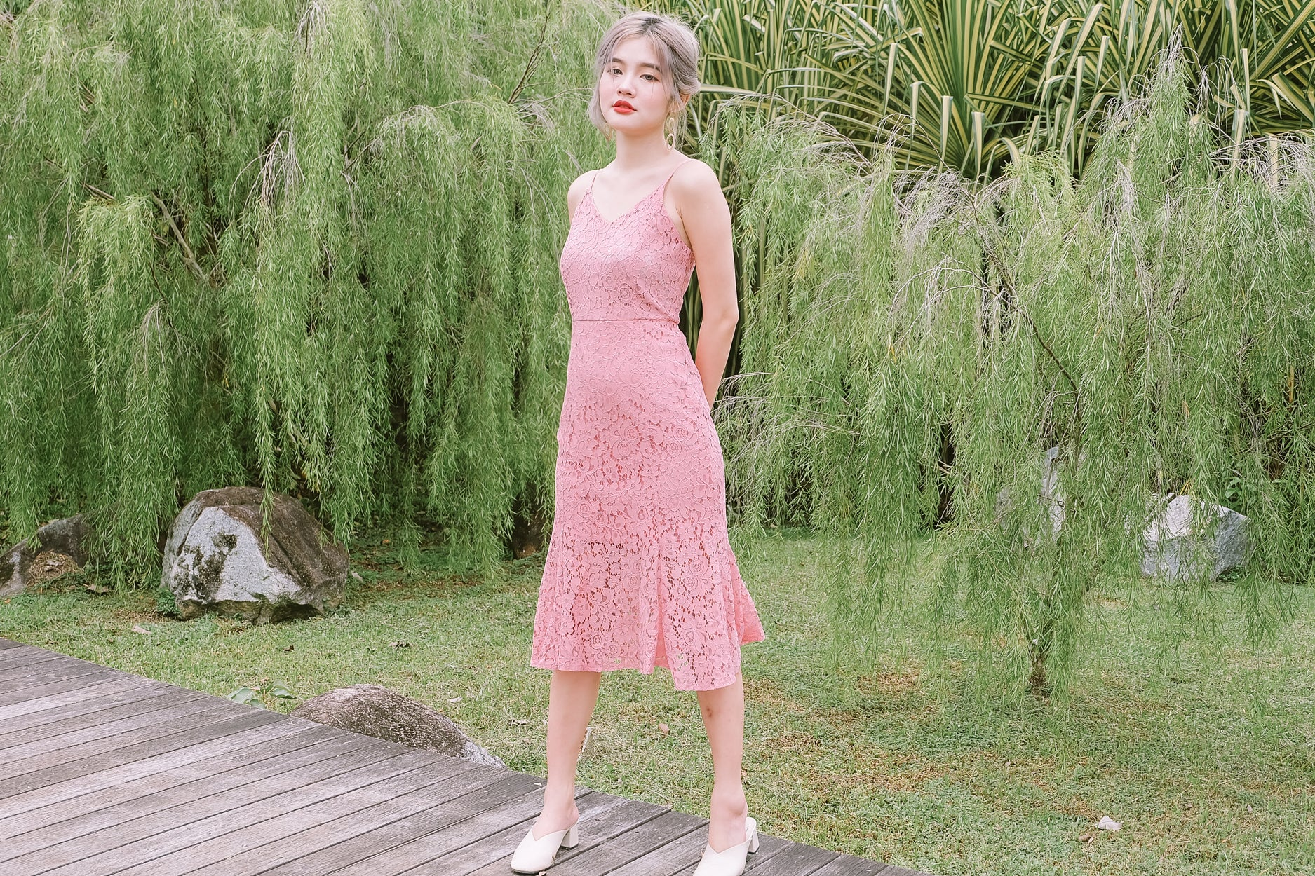 Lace Fishtail Hem Midi Dress in Pink