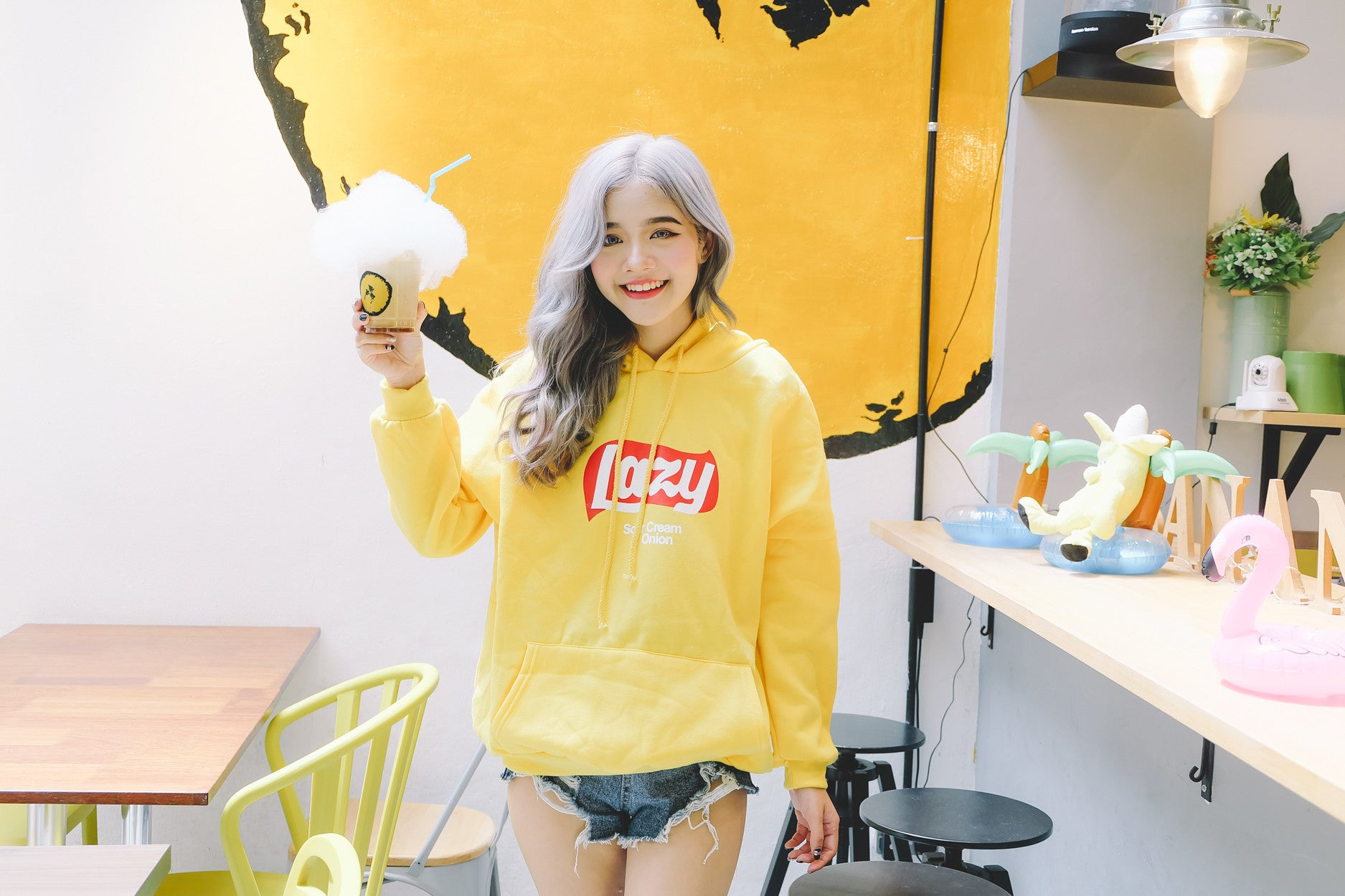 [Restocked] Lazy Hoodie Sweater in Yellow