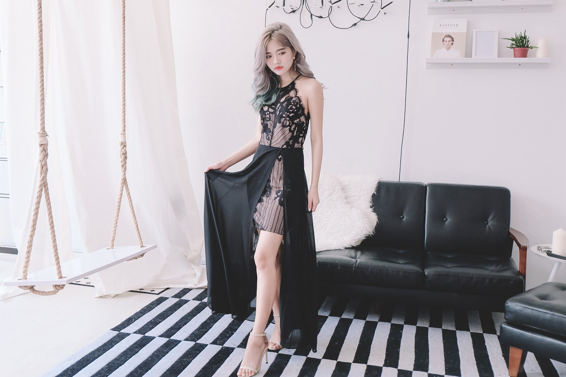 [Restocked] Lace Panel Maxi Dress in Black