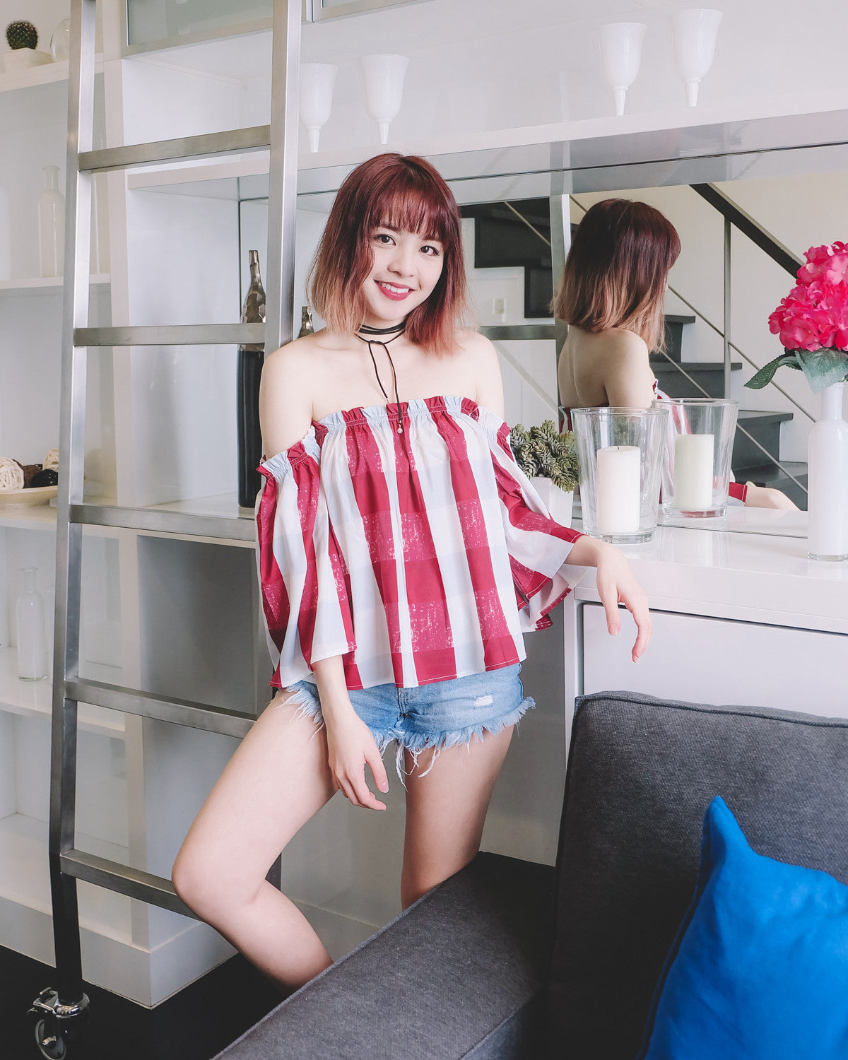 Red Check Off Shoulder Top
