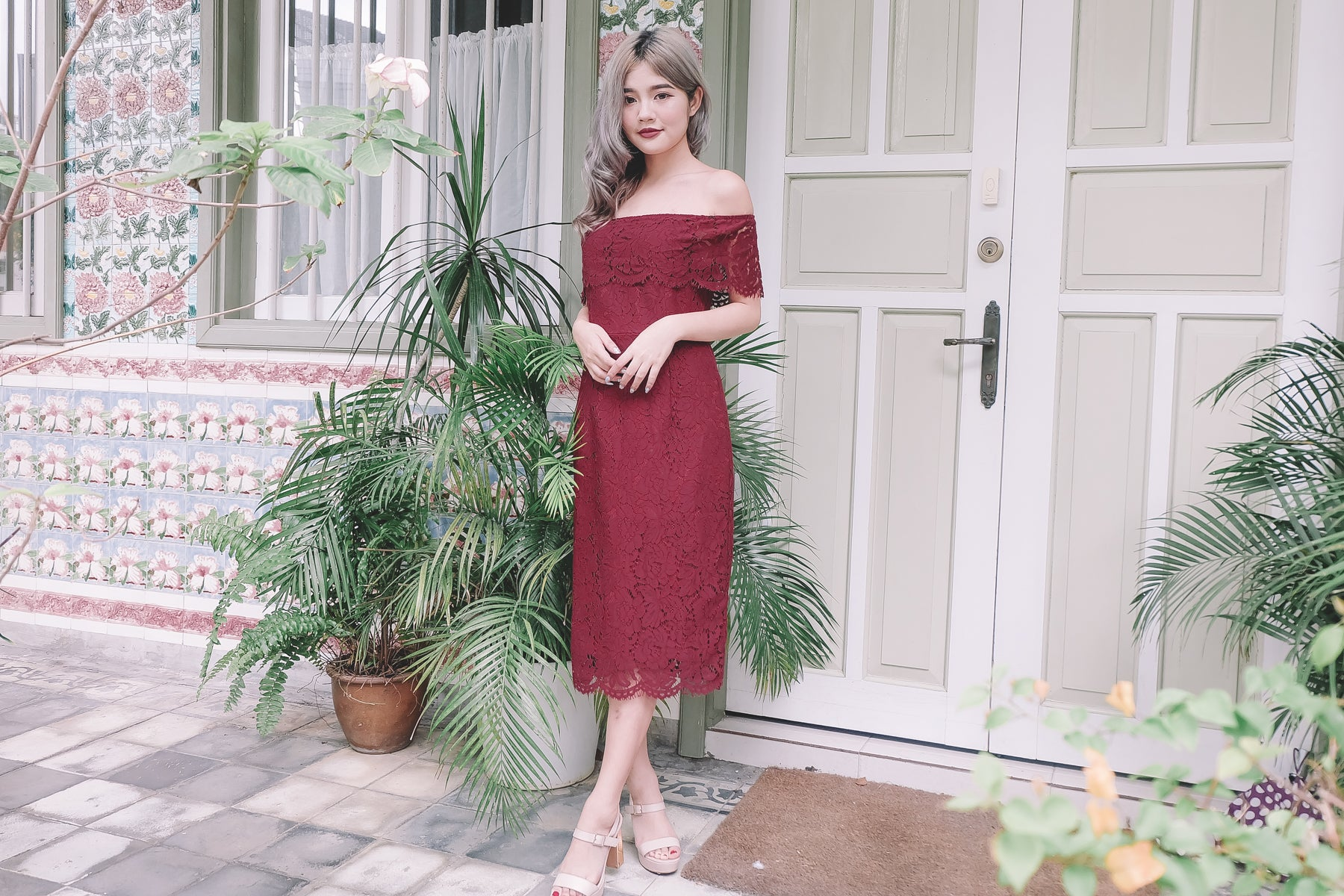 Lace Off Shoulder Midi Dress in Red