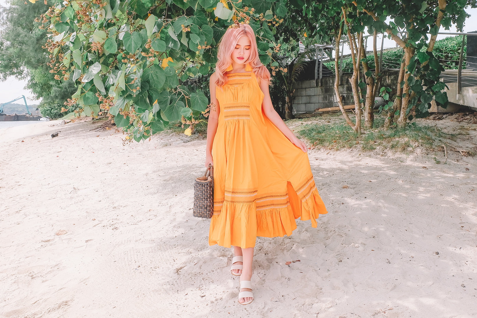 Remi Embroidered Maxi Dress in Marigold
