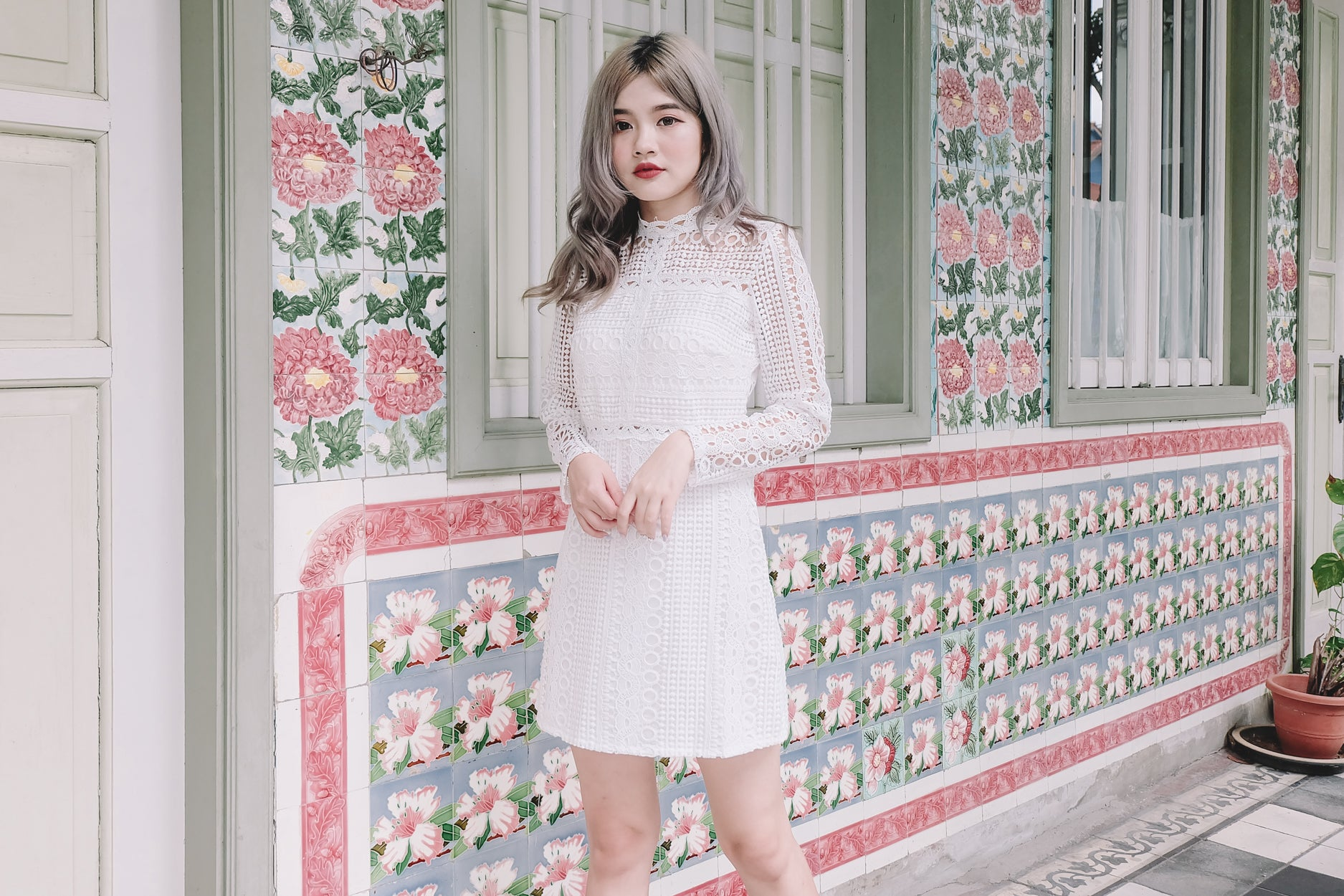 Crochet Lace Mock Neck Dress in White