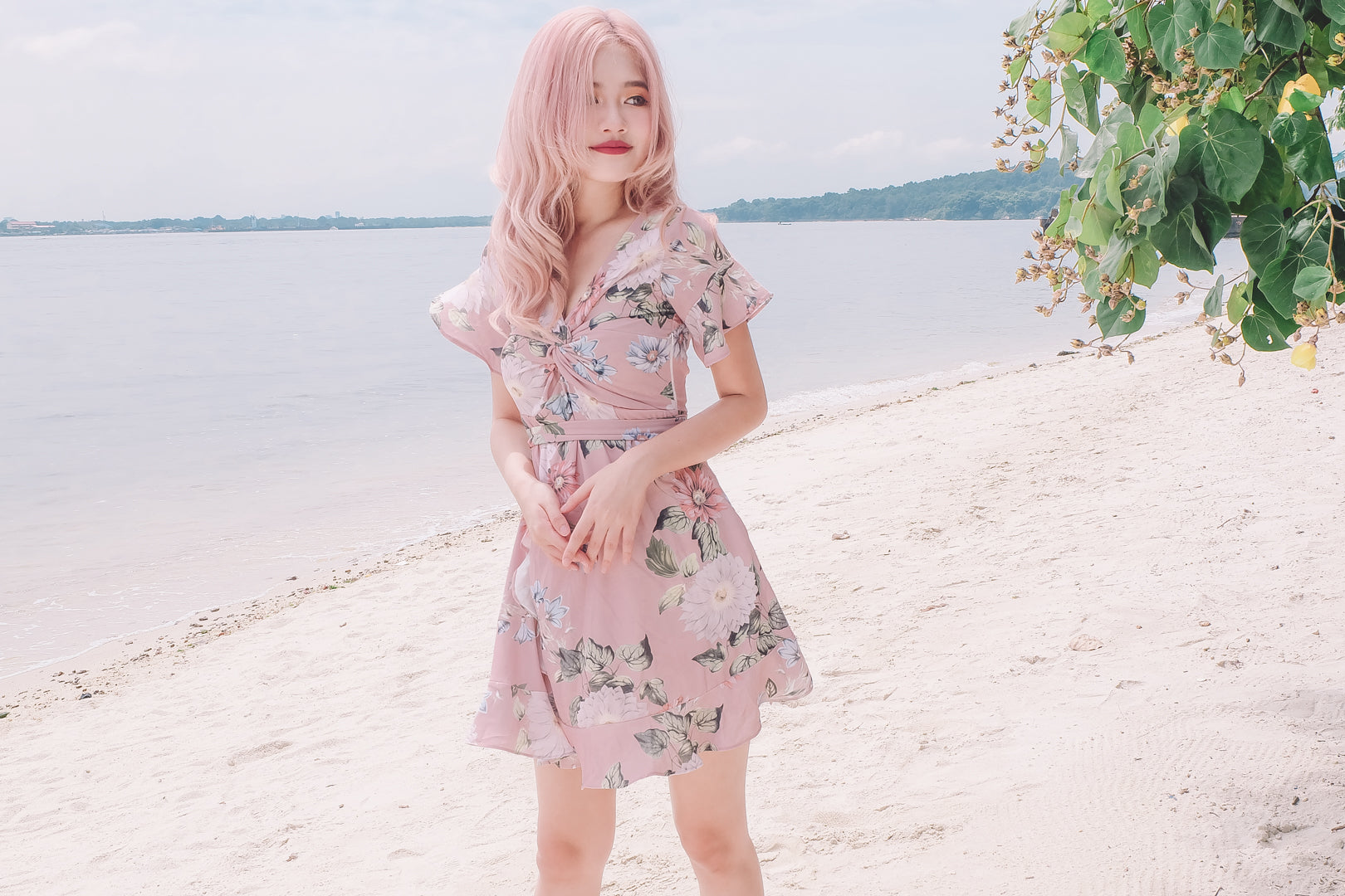 Blakely Floral Ruffled Dress in Pink