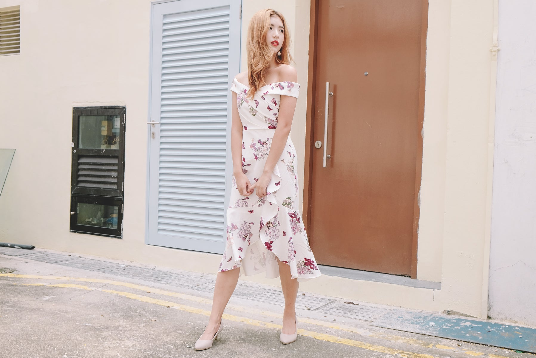 Celia Floral Bardot Midi Dress in White