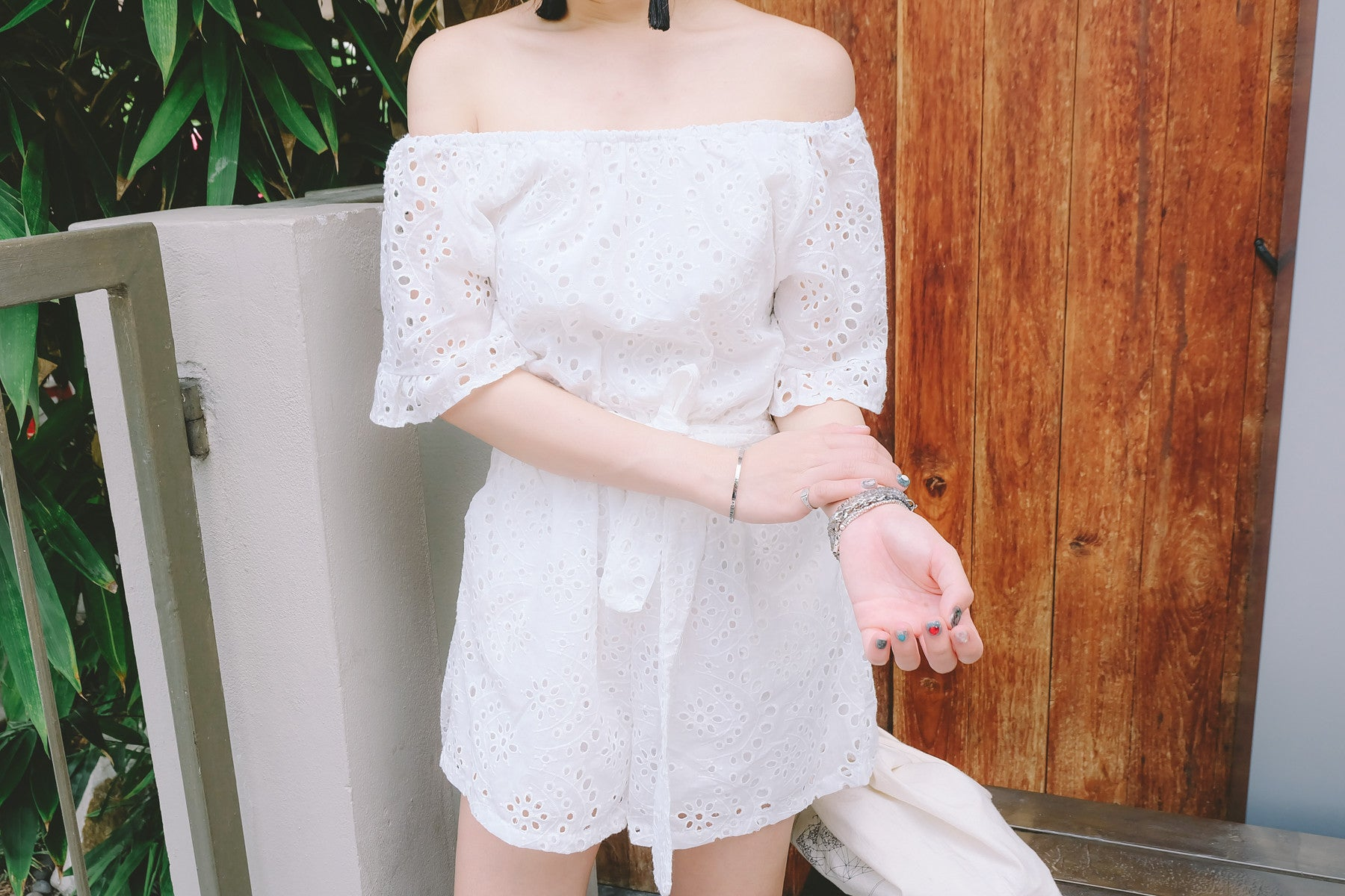 Eyelet Off The Shoulder Romper in White
