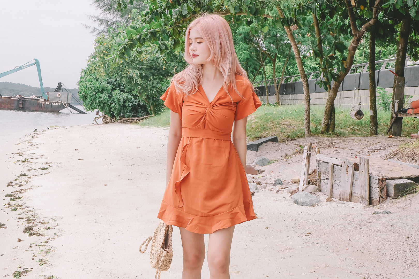 Blakely Ruffled Dress in Burnt Orange
