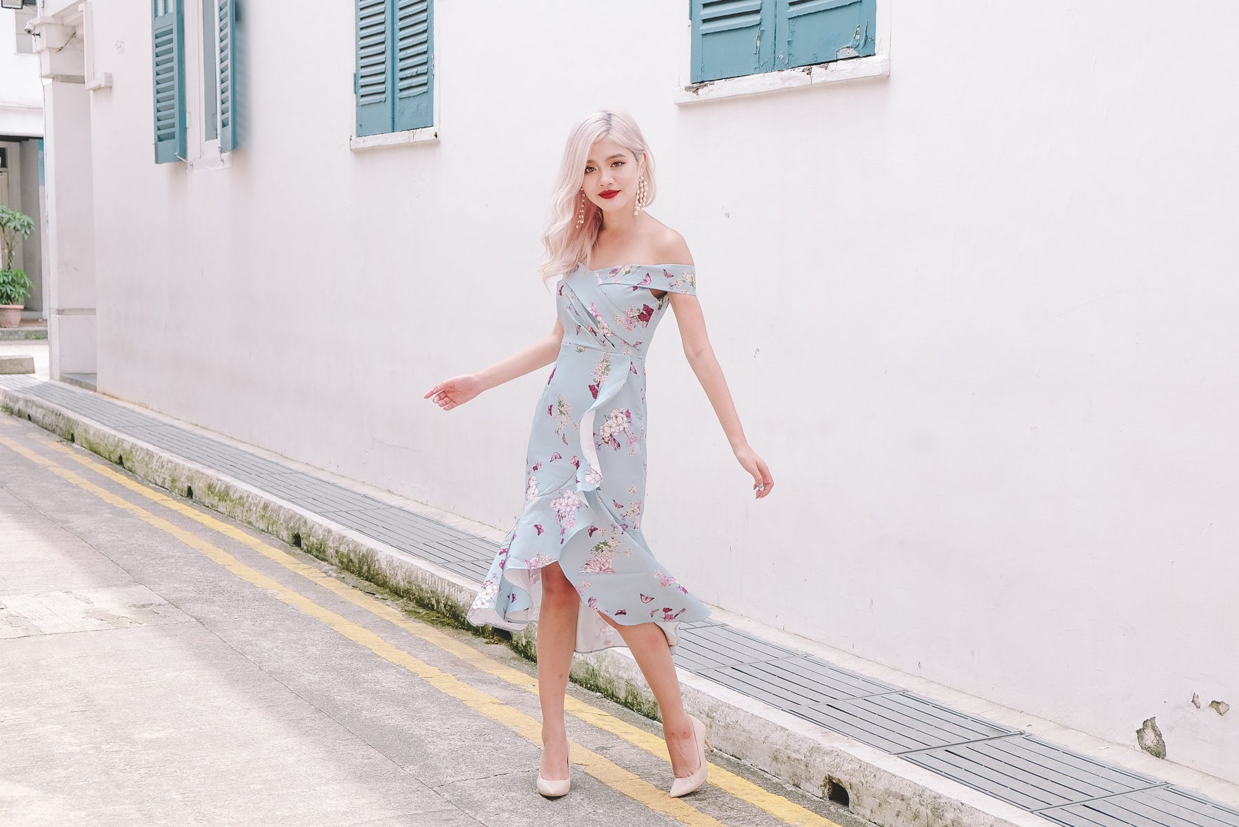 [Restocked] Celia Floral Bardot Midi Dress in Light Blue