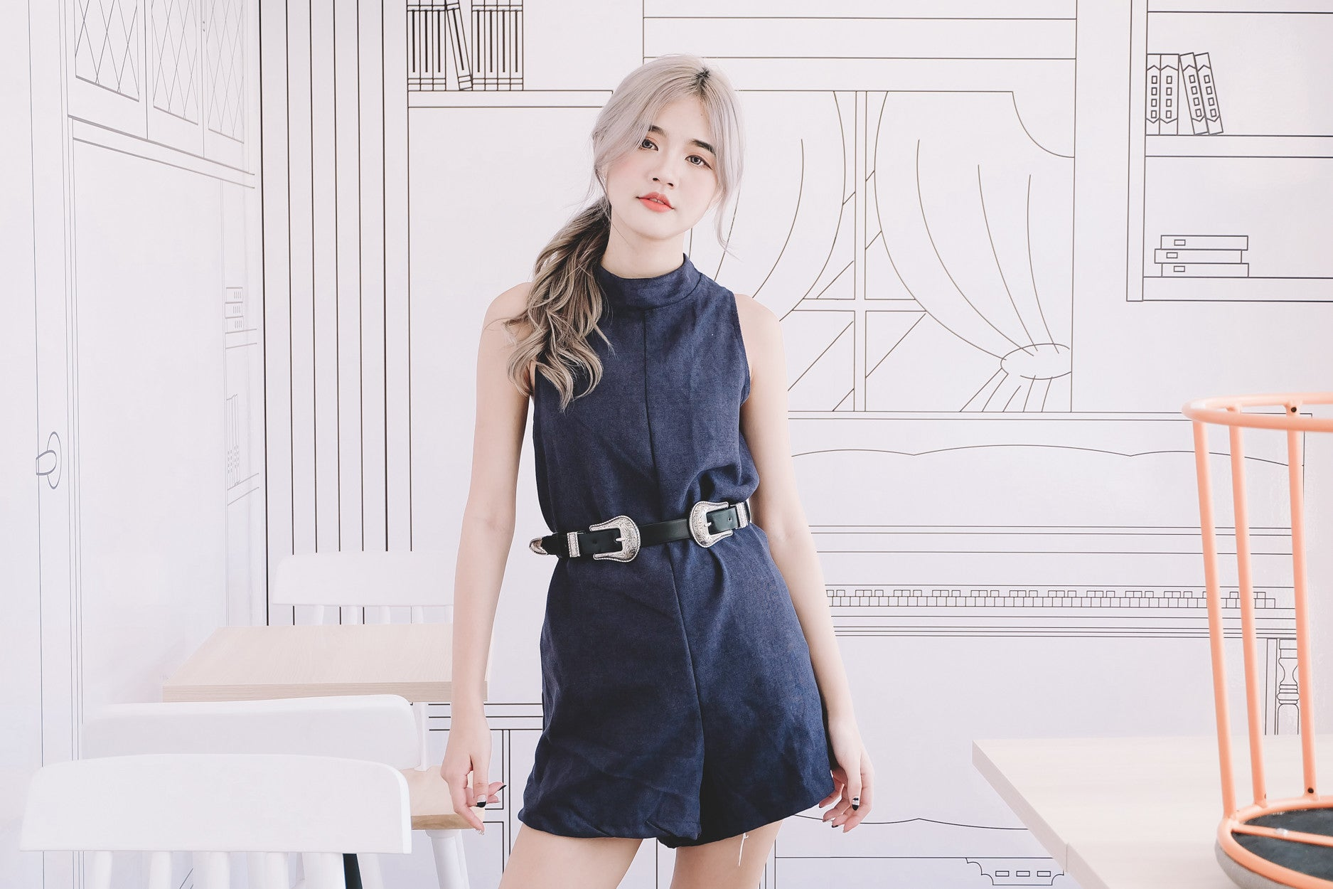 Suede Mock Neck Romper in Navy