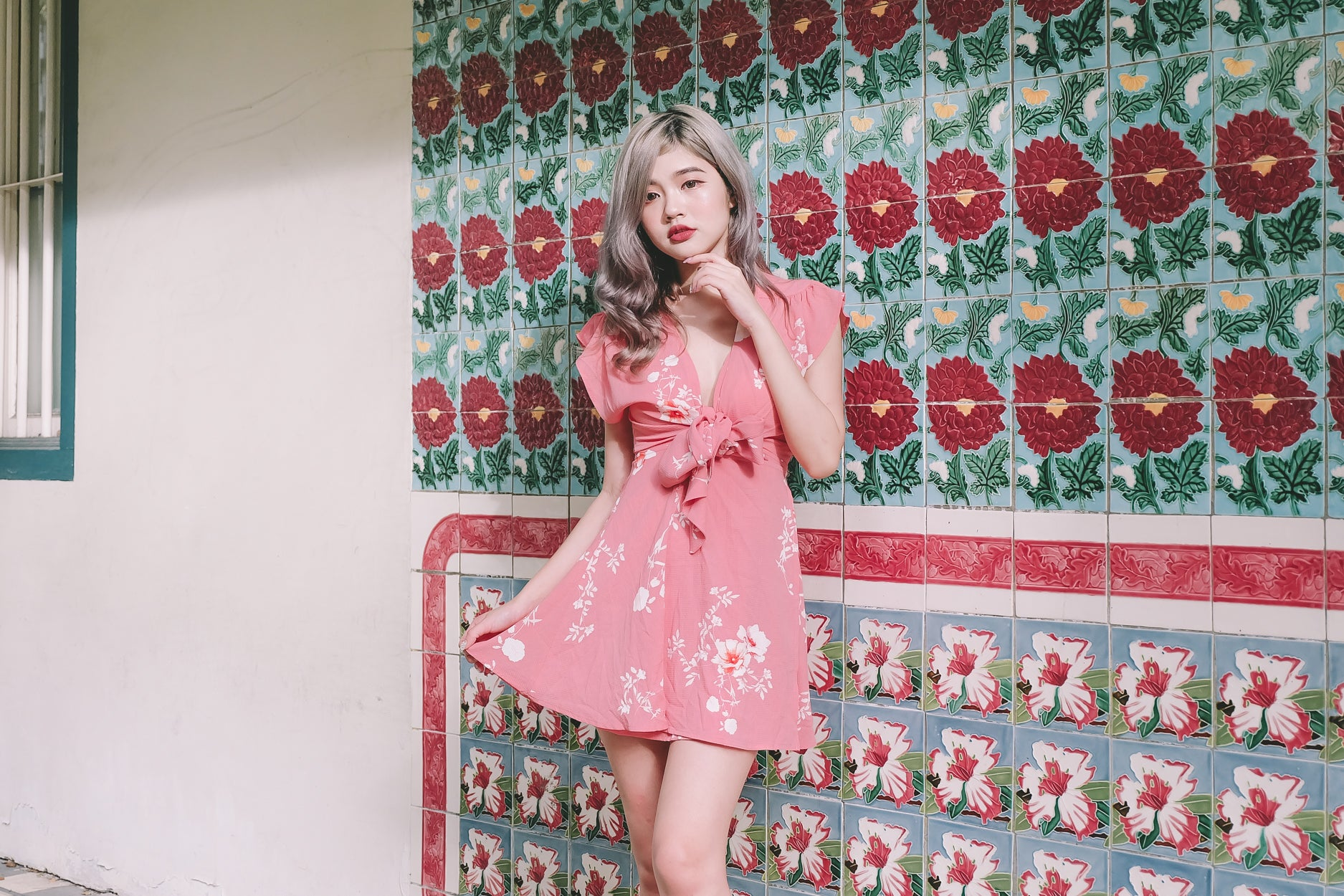[Restocked] Floral Tie-Front Kimono Dress in Pink
