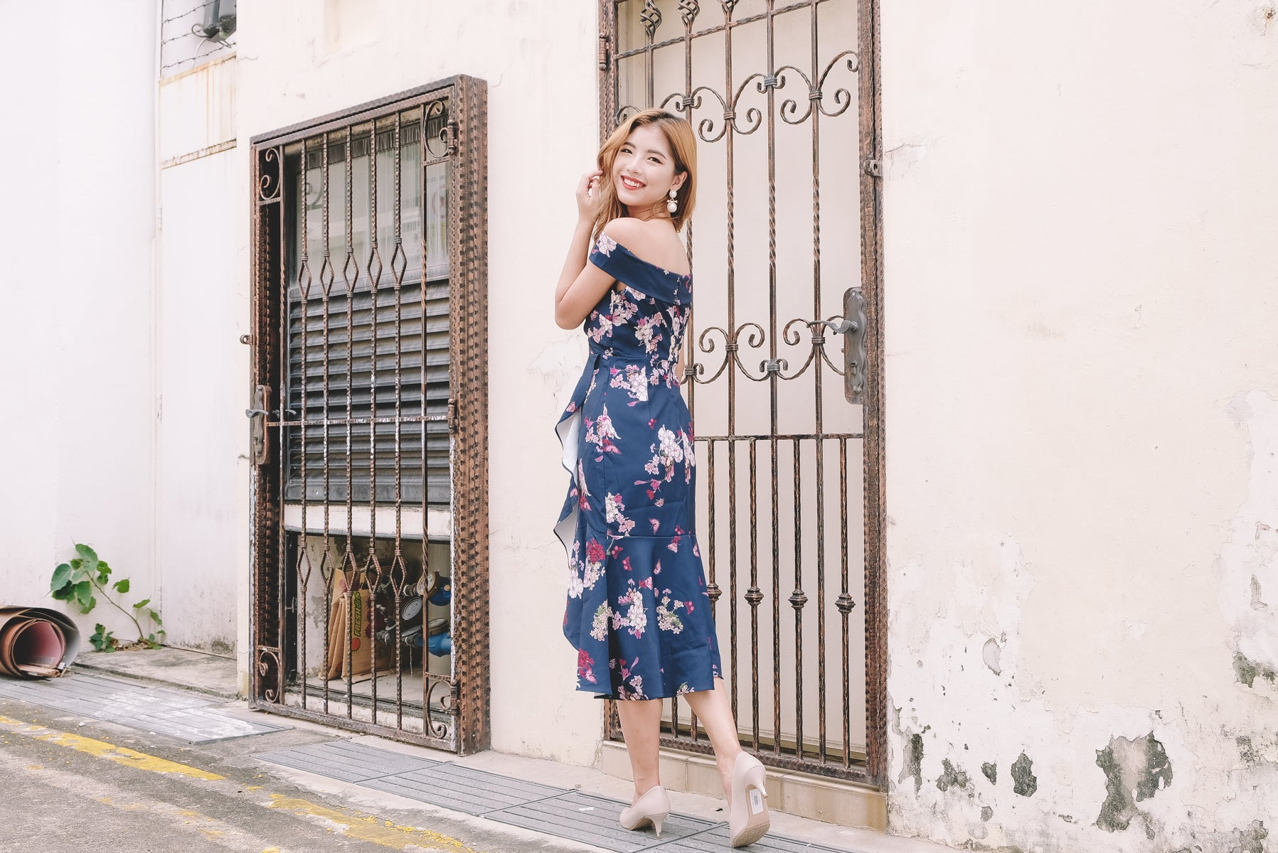 Celia Floral Bardot Midi Dress in Navy
