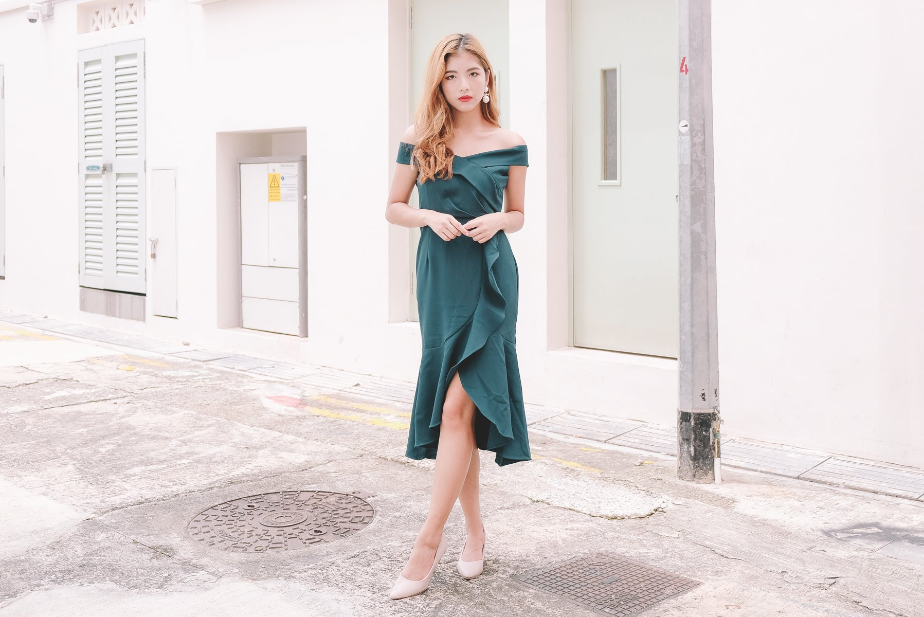Celia Bardot Midi Dress in Emerald Green