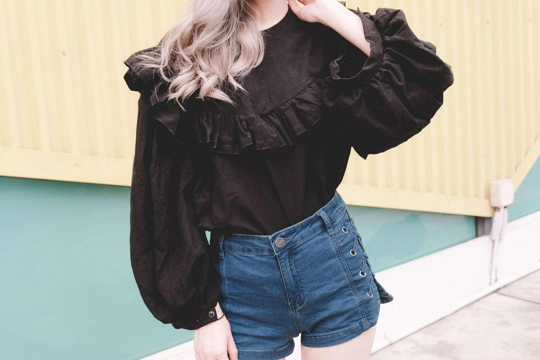 Ruffled Puff Sleeve Top in Black
