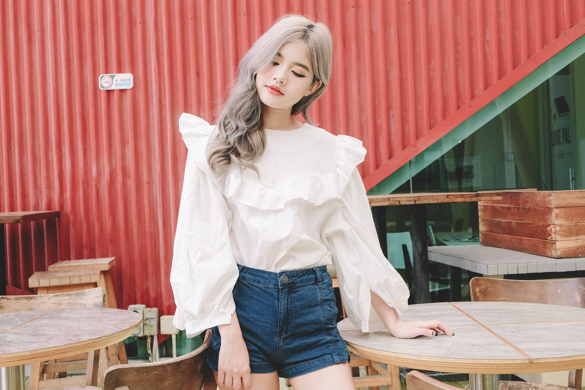Ruffled Puff Sleeve Top in White