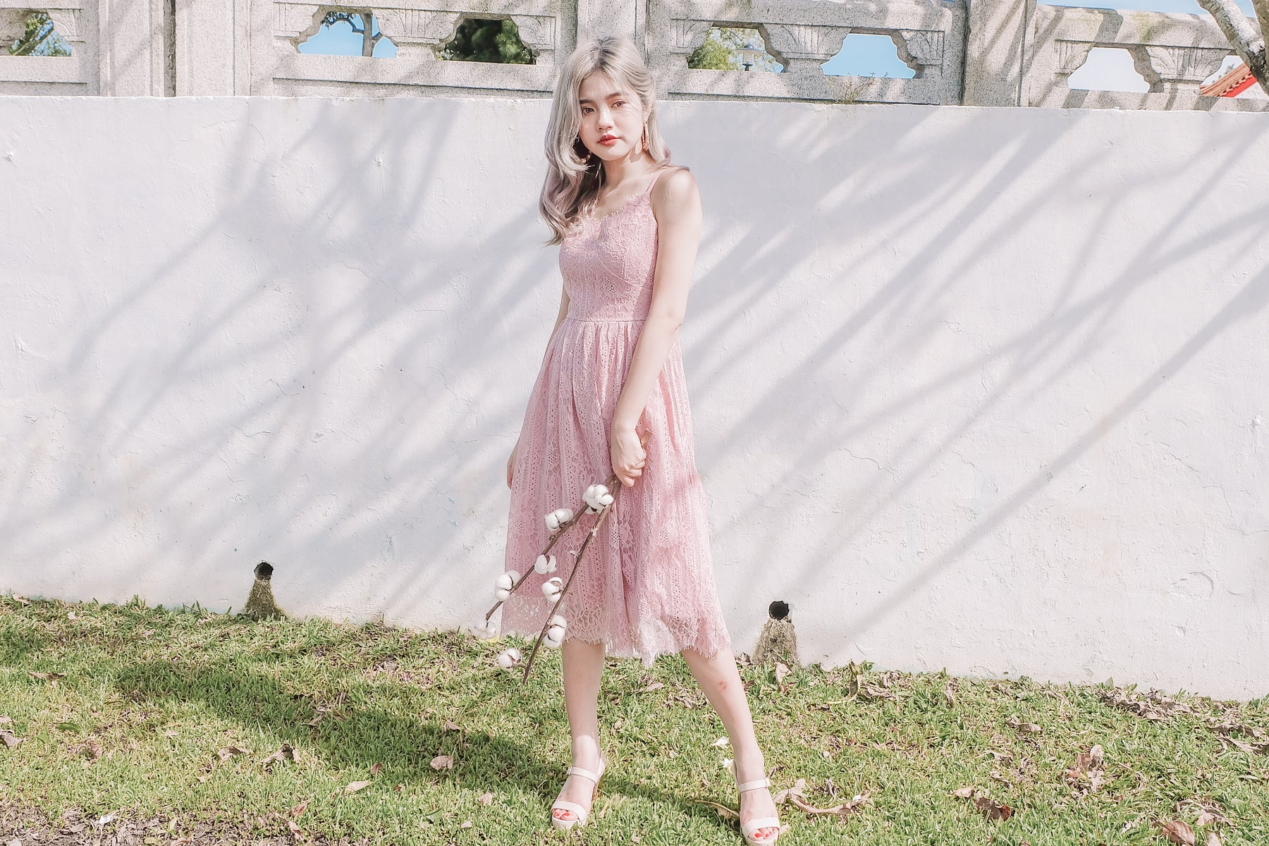 Lace Midi Dress in Pink