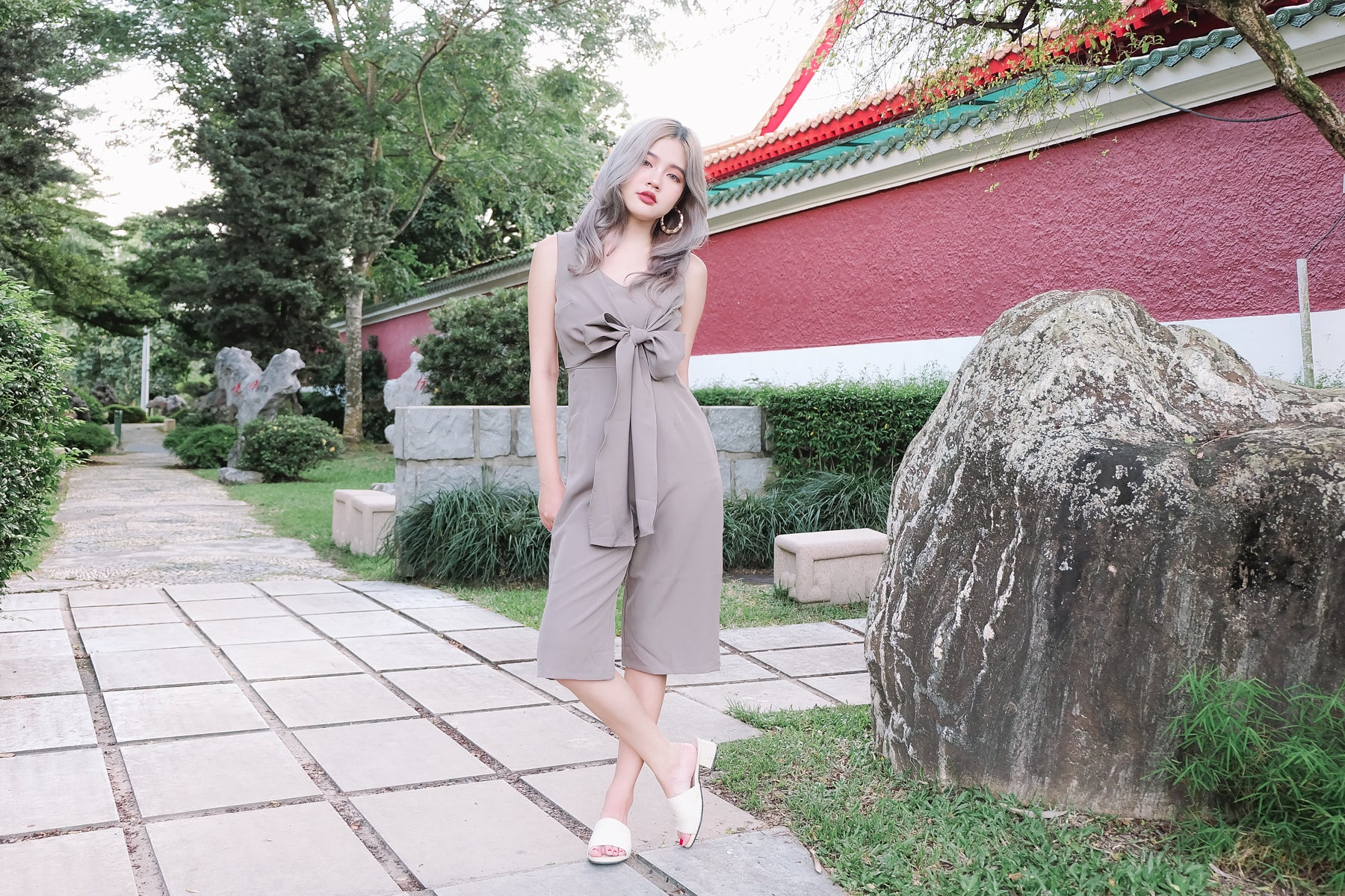 Tie-Front Jumpsuit in Grey