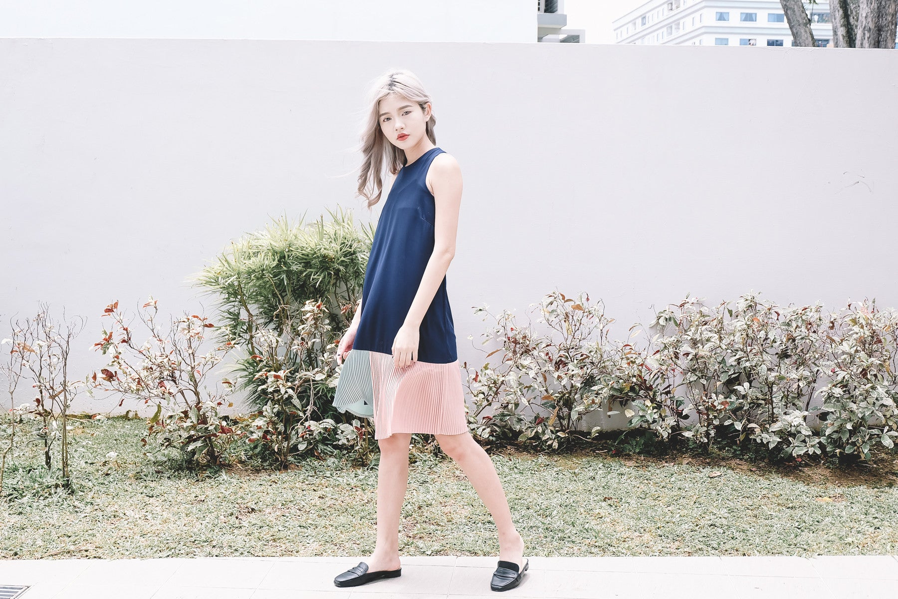 [Restocked] Colour Block Pleated Hem Dress in Navy