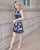 Clarke Abstract Print Dress in Navy