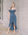 Daphne Off Shoulder Maxi Dress in Steel Blue