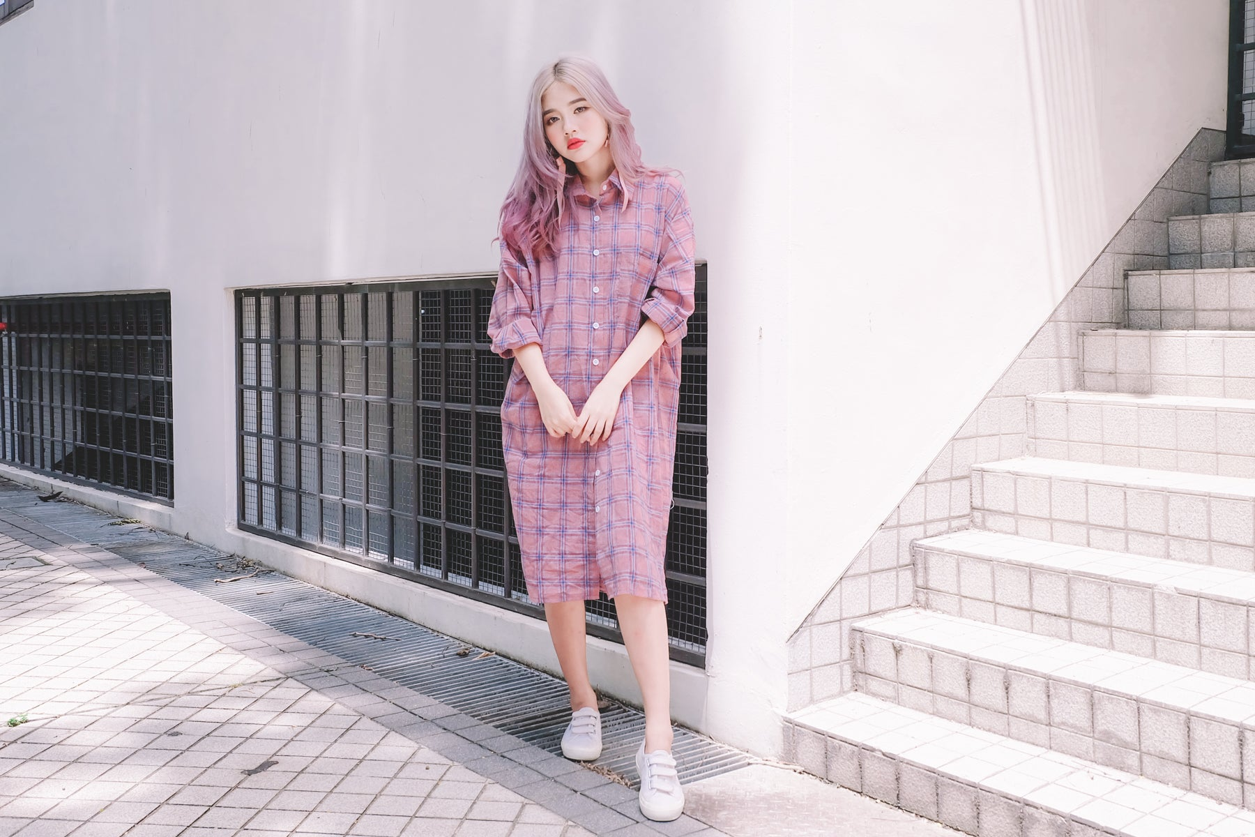 Plaid Shirt Dress in Pink
