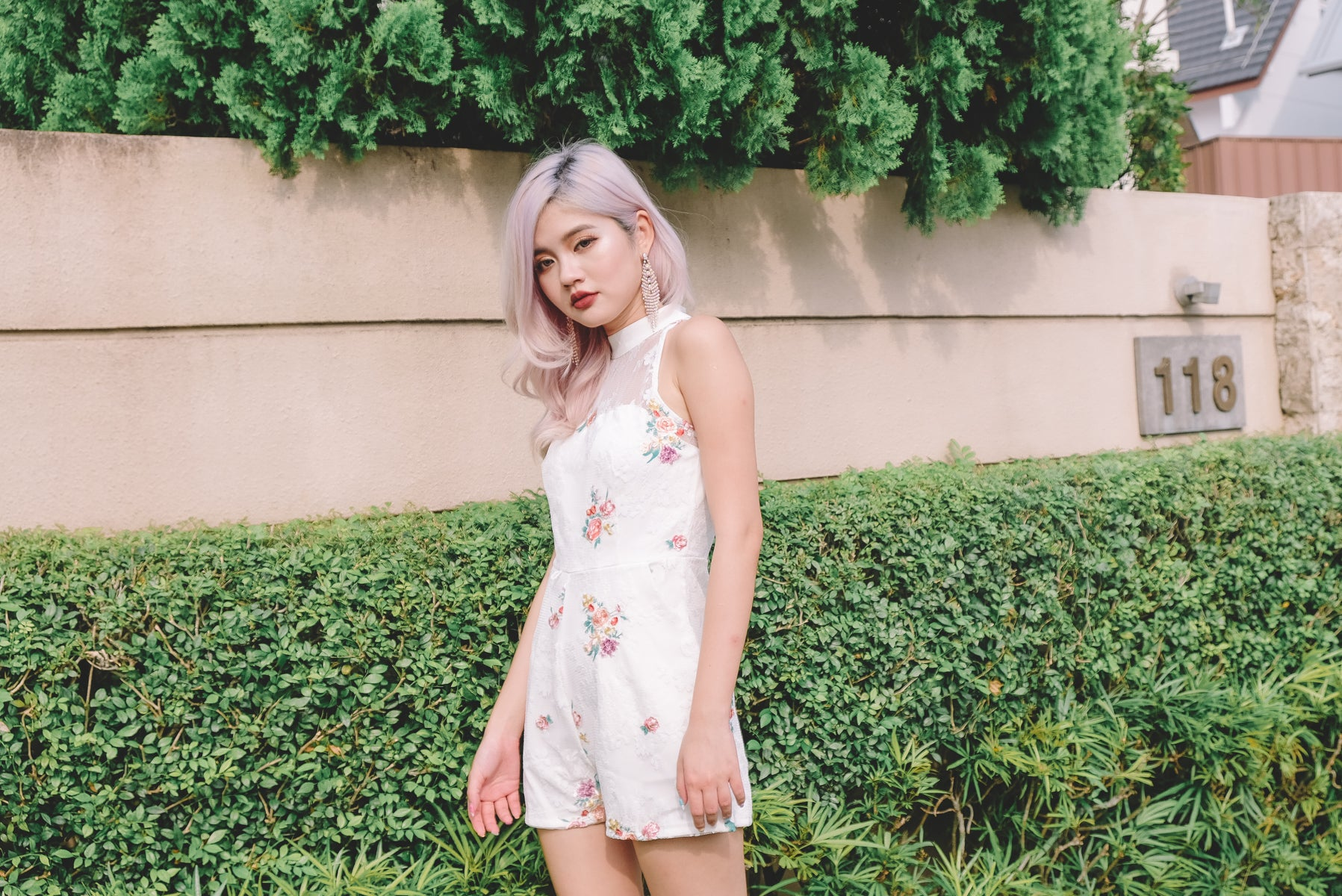 [Restocked] Ernika Floral Lace Romper in White