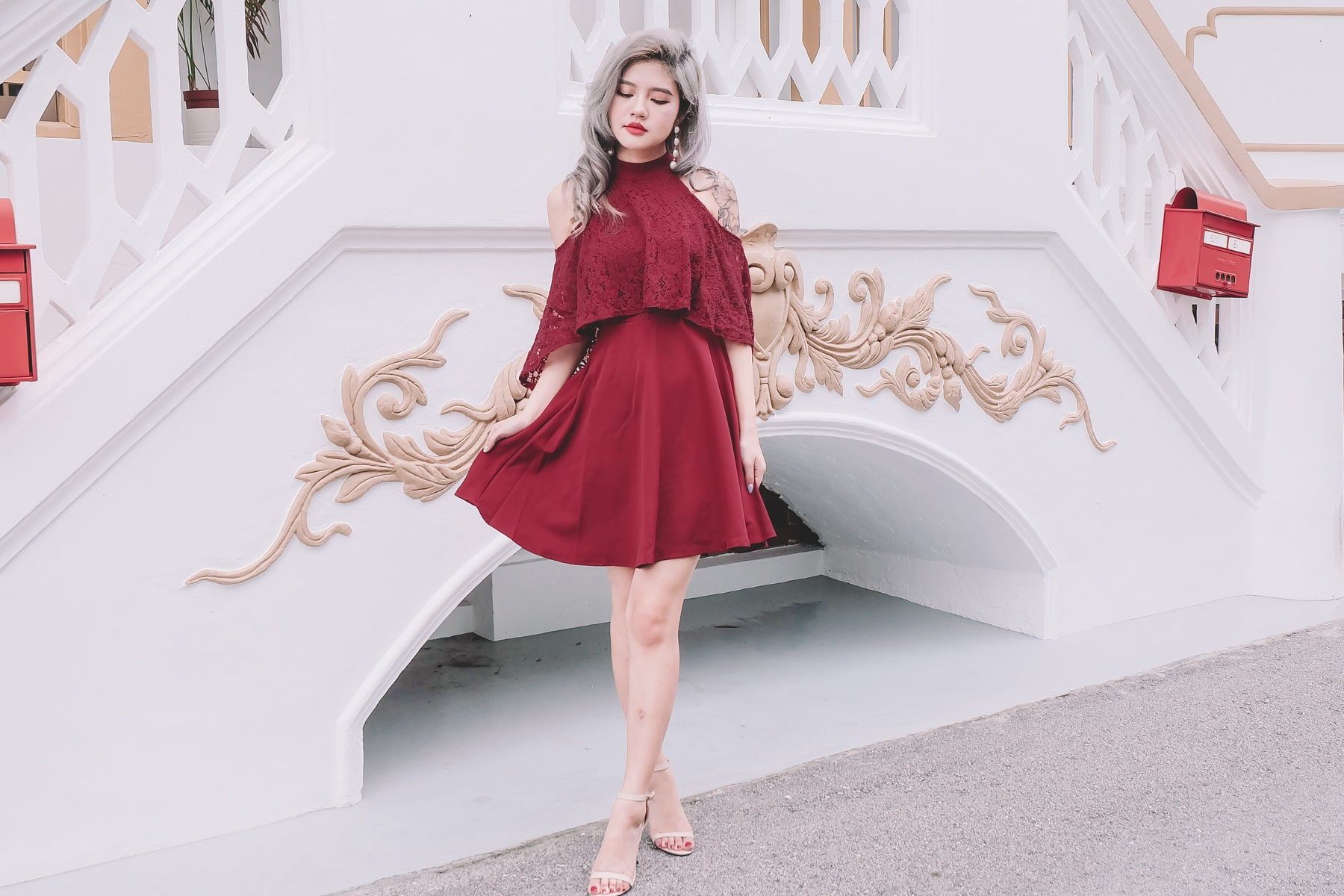 Layer Lace Cold Shoulder Dress in Burgundy